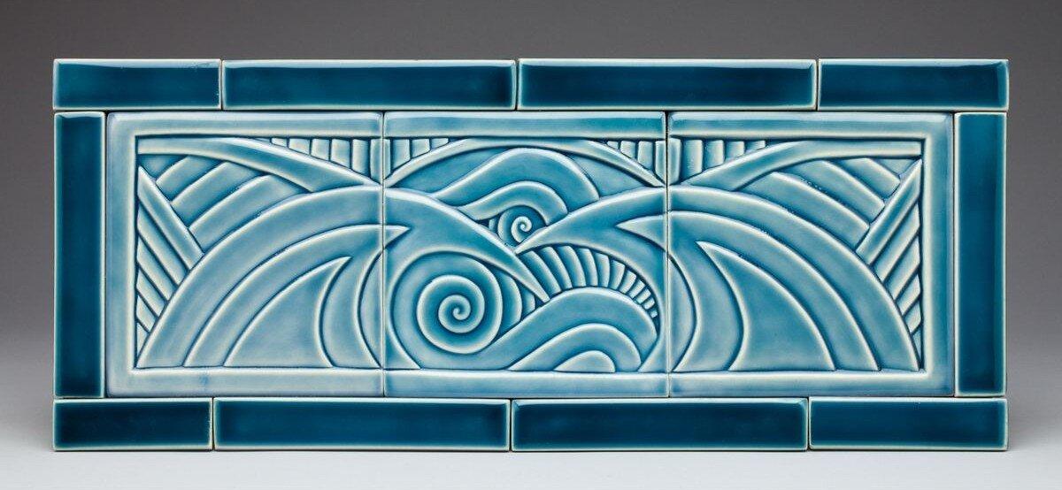 Custom Carved Wave Tile Backsplash / Mural
