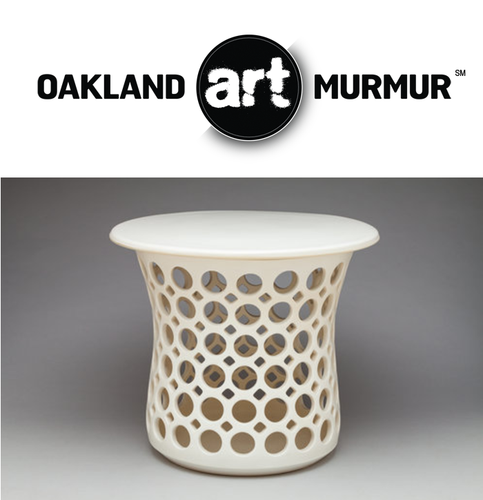 Lynne Meade stout openwork hourglass table / stool at Oakland Art Murmur