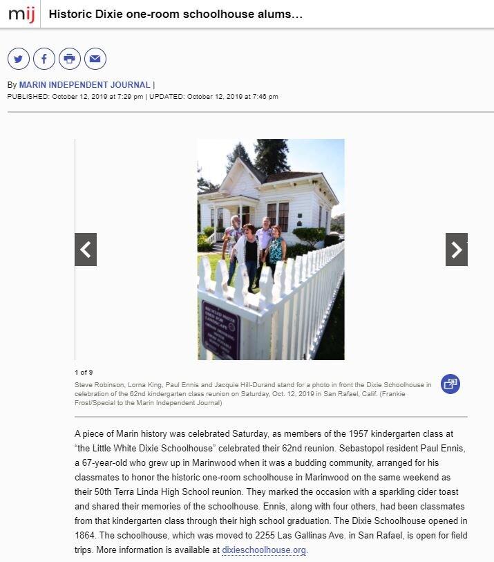 See full article here:  https://www.marinij.com/2019/10/12/historic-dixie-one-room-schoolhouse-alums-celebrate-62nd-kindergarten-class-reunion/