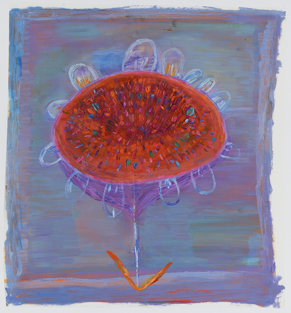 "Orange Pod , 2015 17"" x 16""  Oil on Mylar"