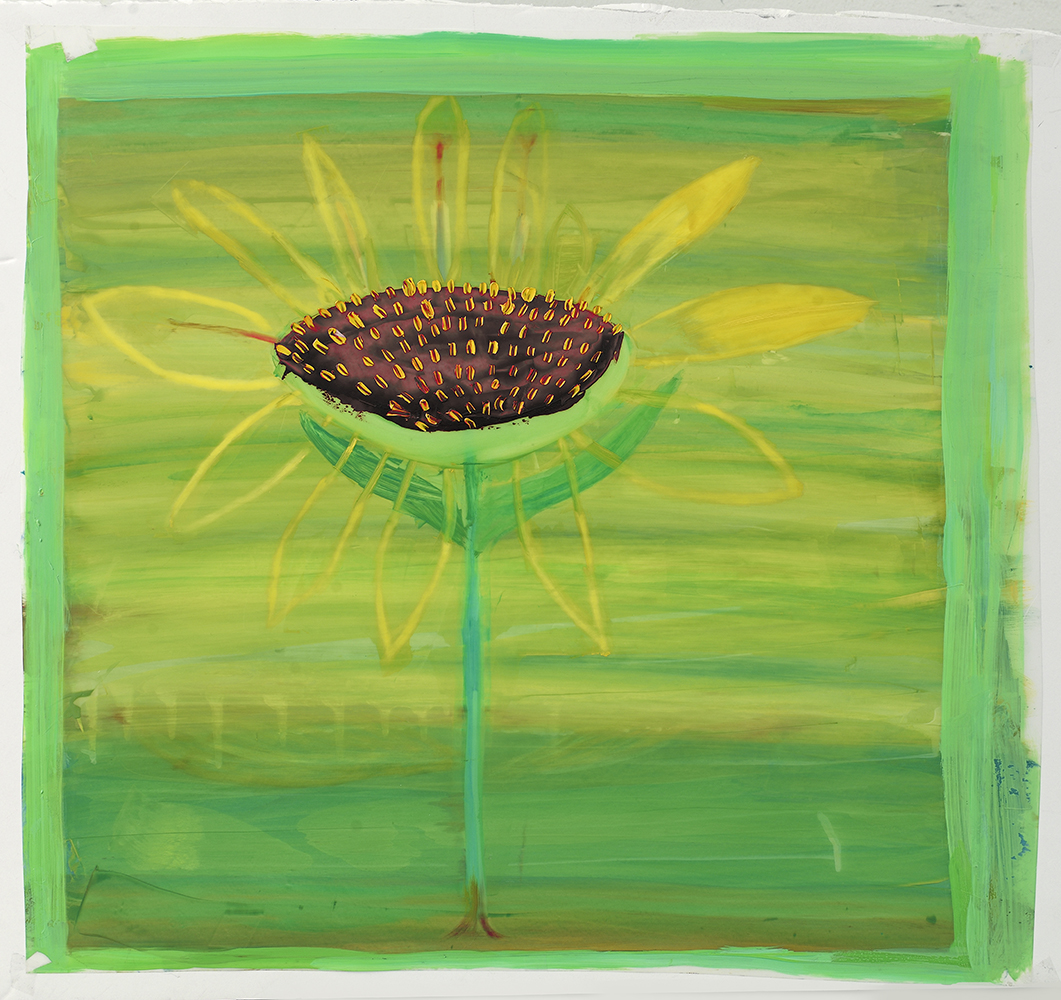 "Sienna Pod on Chartreuse , 2015 23"" x 23""  Oil on Mylar"