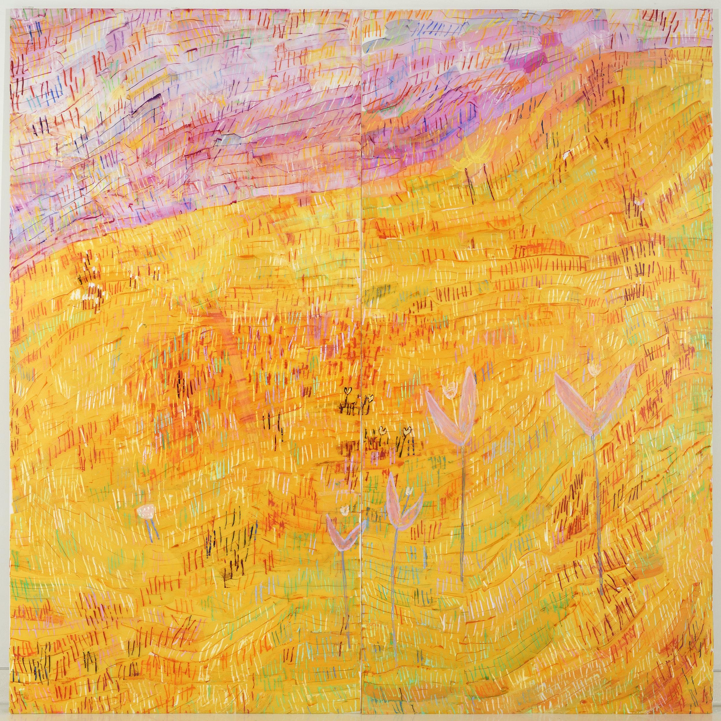 Yellow Field , 2018 8' x 8'  Oil on Mylar