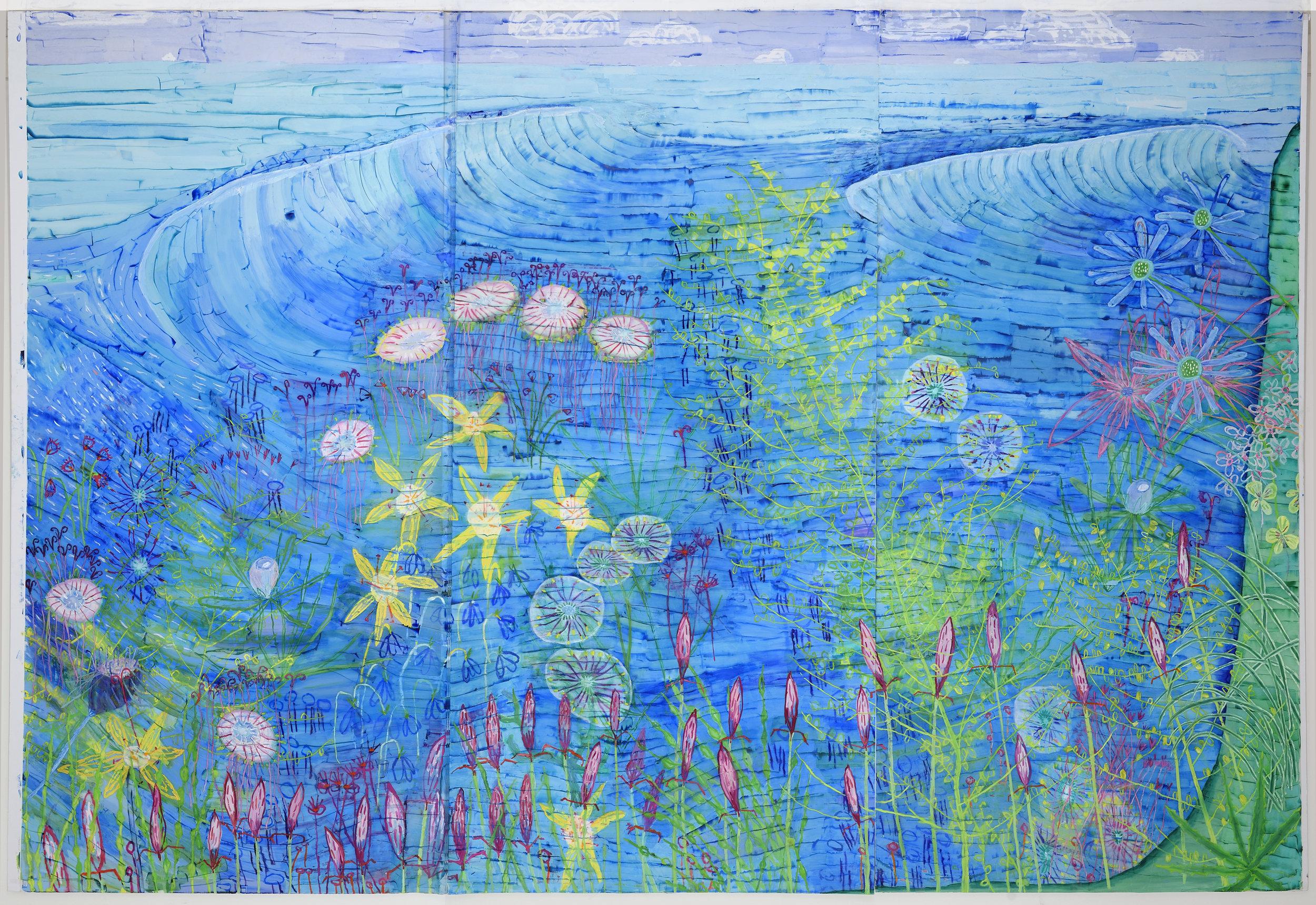 Aqualand , 2017-18  8' x 12'  Oil on Mylar