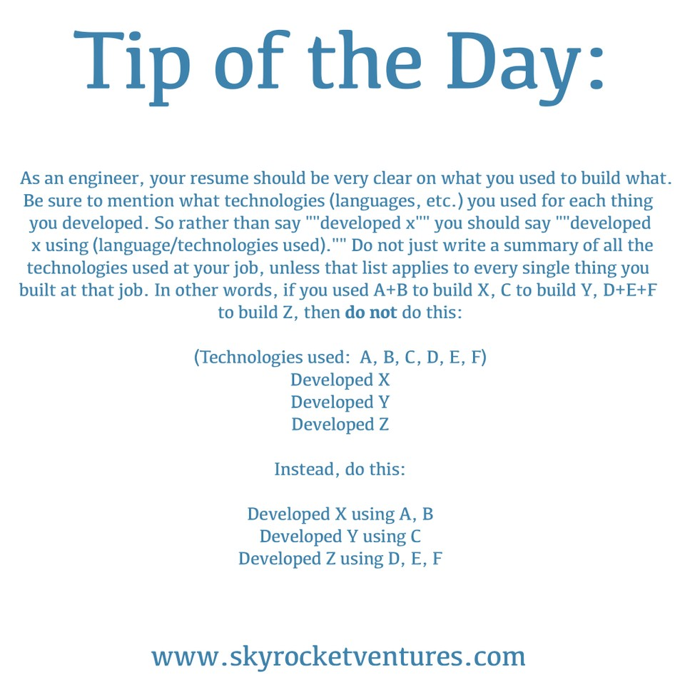 Skyrocket Ventures #TipOfTheDay ☝️    When working with us, we offer a variety of great tips to help you achieve your goals.  To be considered for all of our jobs and have a personalized experience, contact us to discuss your preferences and we'd love to speak with you!  www.skyrocketventures.com   We encourage you to check out Skyrocket Ventures on Social Media:   Facebook       Instagram       LinkedIn       Medium       Tumblr      To get a sense of what types of companies Skyrocket Ventures works with and what types of jobs we help them recruit for, we encourage you to check our job posting sites:   Monster       Dice       LinkedIn
