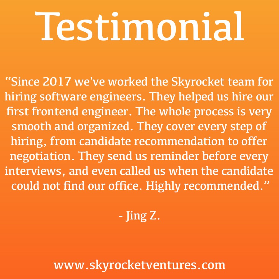 #EmployerTestimonial⁣ ⁣   Companies we work with consistently pull ahead of the competition. Even in the face of challenges such as aggressive competition and industry volatility, companies we work with are much more likely than others to be highly successful.⁣ ⁣ What can Skyrocket Ventures do for your company?   Contact us right away! For more testimonials, head over to our website  www.skyrocketventures.com   We encourage you to check out Skyrocket Ventures on Social Media:    Facebook       Instagram       LinkedIn       Medium       Tumblr      To get a sense of what types of companies Skyrocket Ventures works with and what types of jobs we help them recruit for, we encourage you to check our job posting sites:    Monster       Dice       LinkedIn
