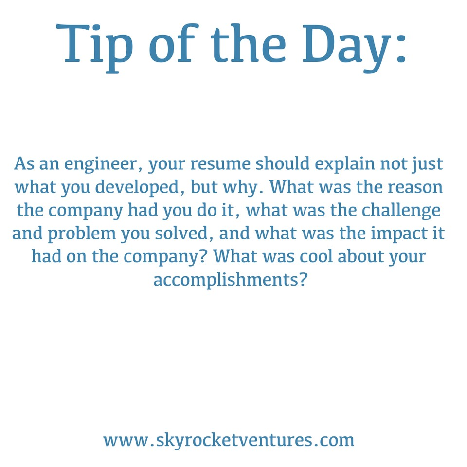 Skyrocket Ventures #TipOfTheDay ☝️⁣ ⁣   When working with us, we offer a variety of great tips to help you achieve your goals.⁣ ⁣ To be considered for all of our jobs and have a personalized experience, contact us to discuss your preferences and we'd love to speak with you! www.skyrocketventures.com  We encourage you to check out Skyrocket Ventures on Social Media:    Facebook       Instagram       LinkedIn       Medium       Tumblr    To get a sense of what types of companies Skyrocket Ventures works with and what types of jobs we help them recruit for, we encourage you to check our job posting sites:    Monster       Dice       LinkedIn