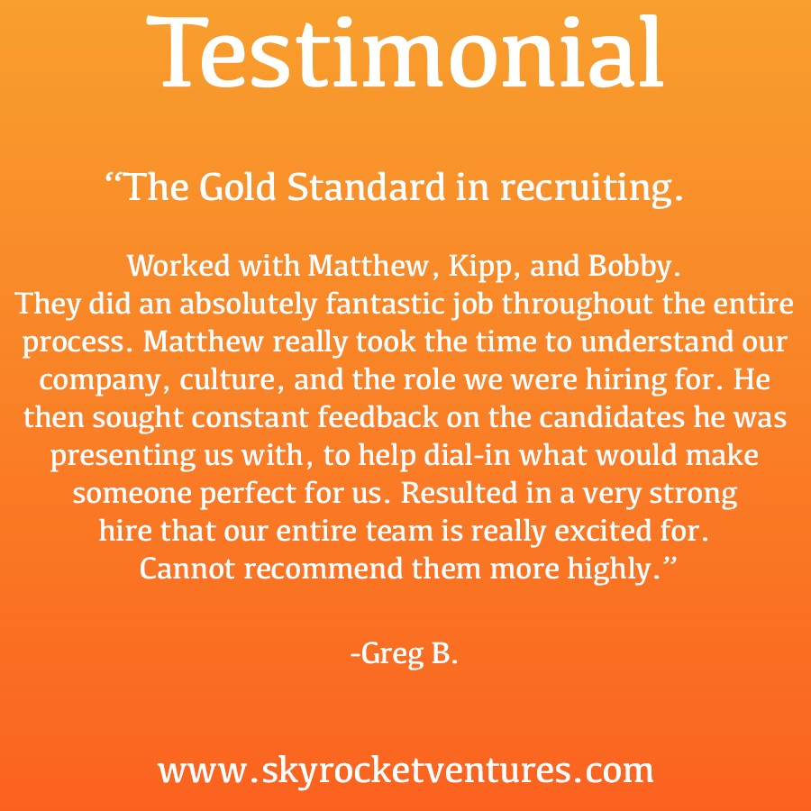 Companies we work with consistently pull ahead of the competition. Even in the face of challenges such as aggressive competition and industry volatility, companies we work with are much more likely than others to be highly successful.⁣⁠ ⁣⁠   What can Skyrocket Ventures do for your company? Contact us right away! For more testimonials, head over to our website  www.skyrocketventures.com   We encourage you to check out Skyrocket Ventures on Social Media:    Facebook       Instagram       LinkedIn       Medium       Tumblr    To get a sense of what types of companies Skyrocket Ventures works with and what types of jobs we help them recruit for, we encourage you to check our job posting sites:    Monster       Dice       LinkedIn
