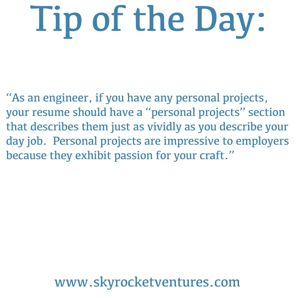 Skyrocket Ventures #TipOfTheDay   When working with us, we offer a variety of great tips to help you achieve your goals.  To be considered for all of our jobs and have a personalized experience, contact us to discuss your preferences and we'd love to speak with you!  www.skyrocketventures.com   We encourage you to check out Skyrocket Ventures on Social Media:    Facebook       Instagram       LinkedIn       Medium       Tumblr    To get a sense of what types of companies Skyrocket Ventures works with and what types of jobs we help them recruit for, we encourage you to check our job posting sites:    Monster       Dice       LinkedIn