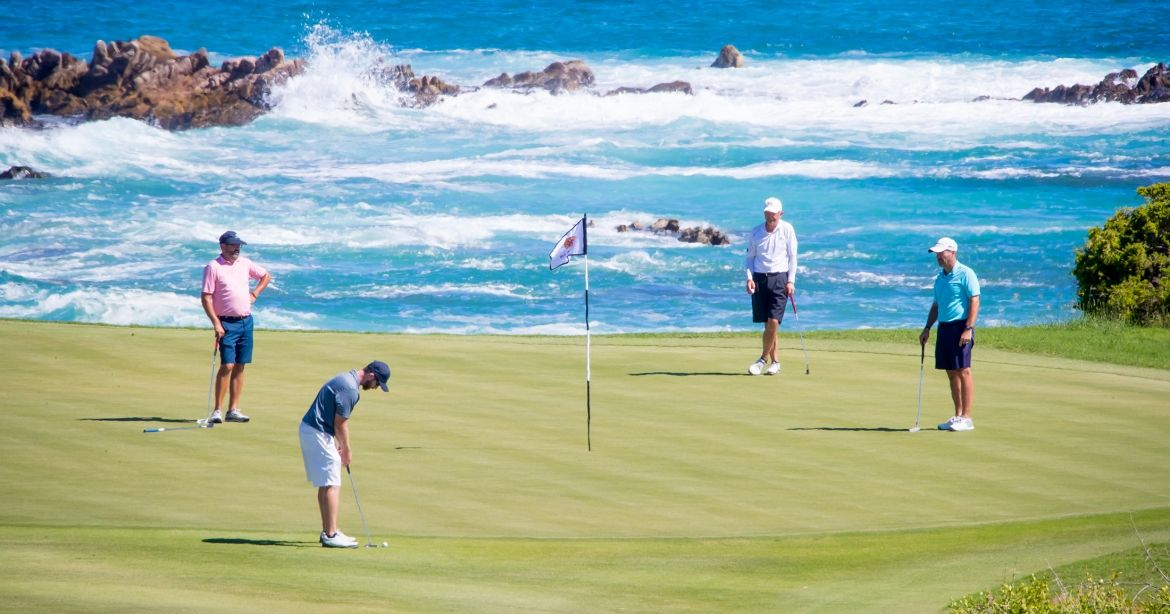 Golf at Cabo del Sol   | México 1 km 10.3, del Sol Tel:  1-866-231-4677  -  inquiries@cabodelsol.com.mx   Fun fact - we got engaged on the 16th hole at this famed Ocean Course. Adam's family has been coming to their home at Cabo del Sol for 10 years. We've made a lot of memories here and are excited to share this special spot with our family and friends.
