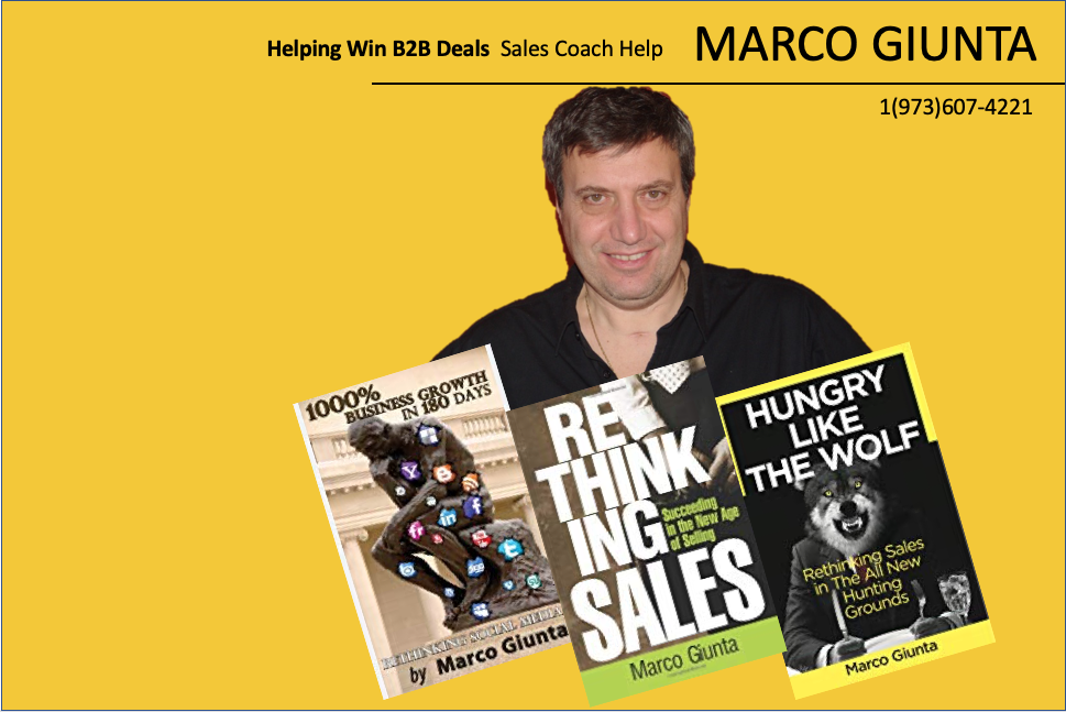 Your Sales Coach - Marco Giunta 30+ year sales veteran - Sales Book AuthorGlobal Head Of Sales - Entrepreneur