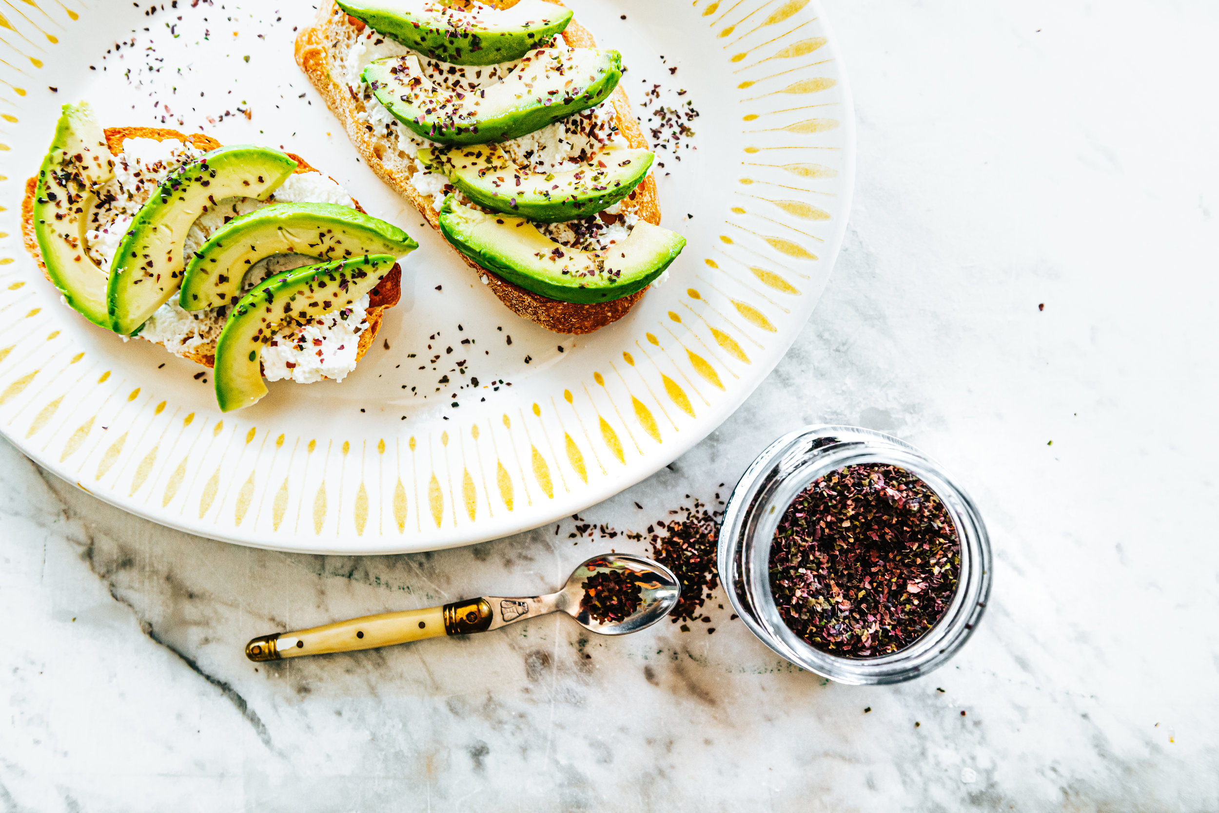 Avocado Toast - - Toast a slice of rustic bread-Spread 2 tablespoons of fresh ricotta cheese- Cover with thinly sliced avocado- Sprinkle with Roasted Seaweed Flakes