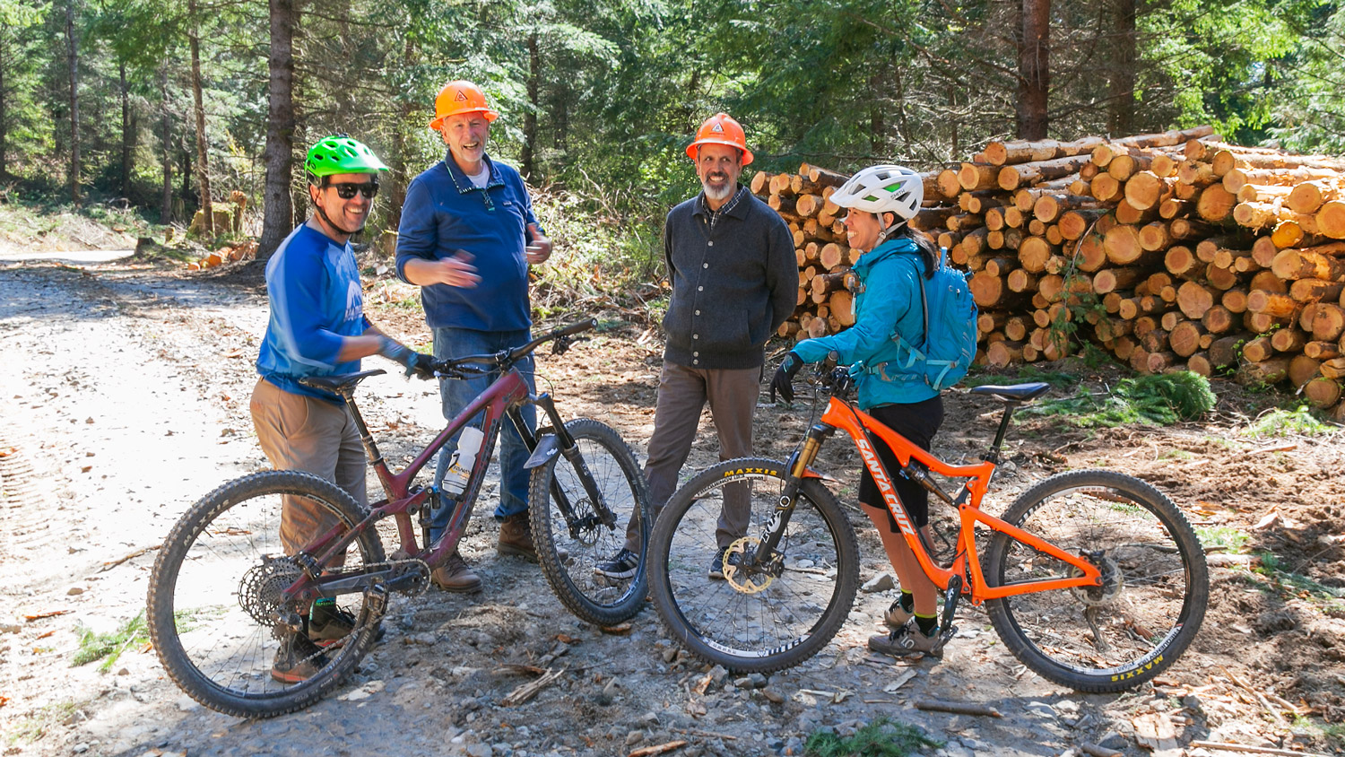 Stakeholders at Galbraith Tree Farm - From left to right; Eric Brown, Whatcom Mountain Bike Coalition – Rich Bowers, Whatcom Land Trust – Rob Janicki, Janicki Logging and Construction – Linda Balfour, The Conservation Alliance.