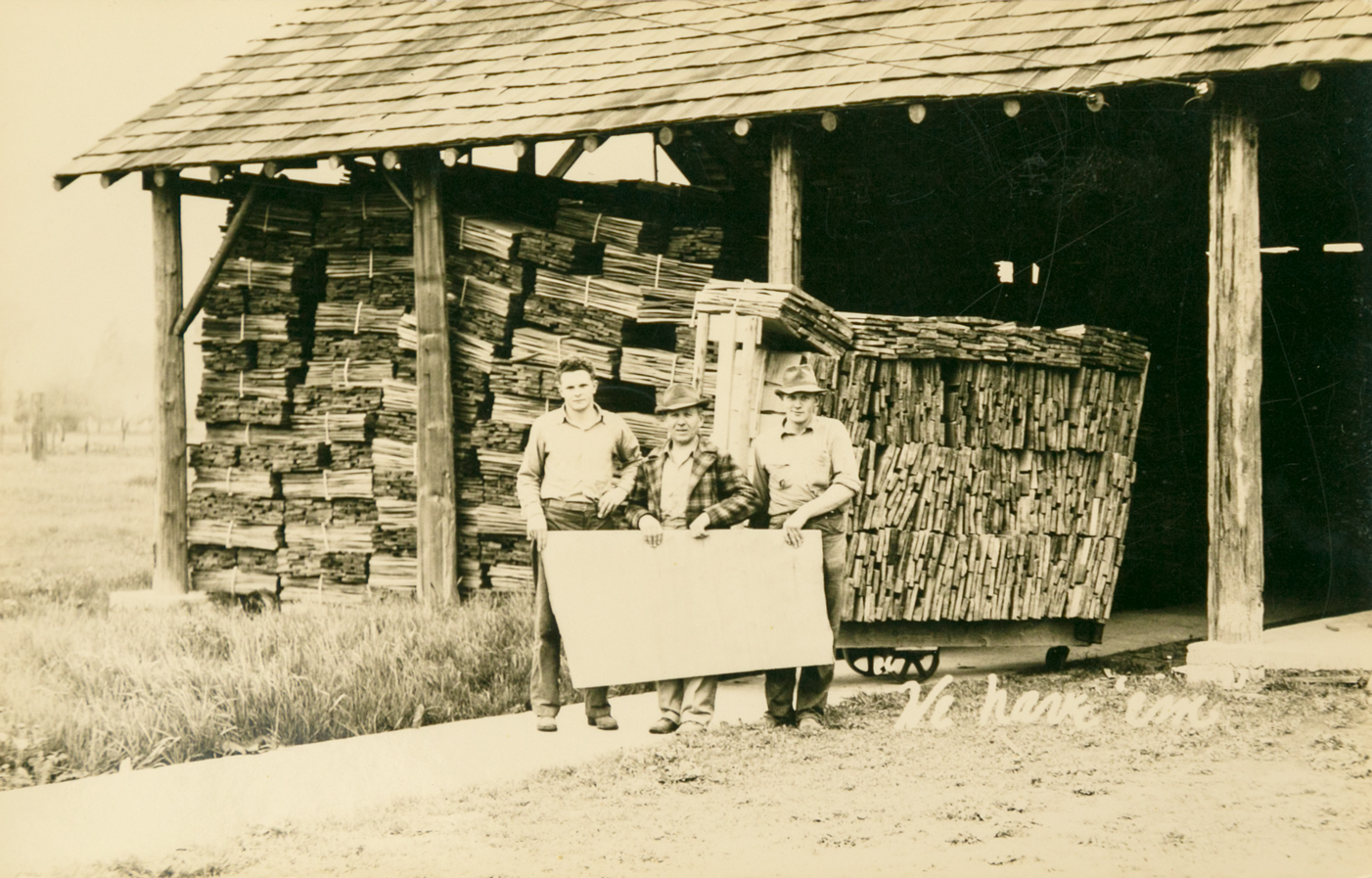 Cedar Crest Shake Mill, circa 1950 - Left to right; Stanley Janicki, Jr., Stanley Janicki, Sr., Walter Janicki.