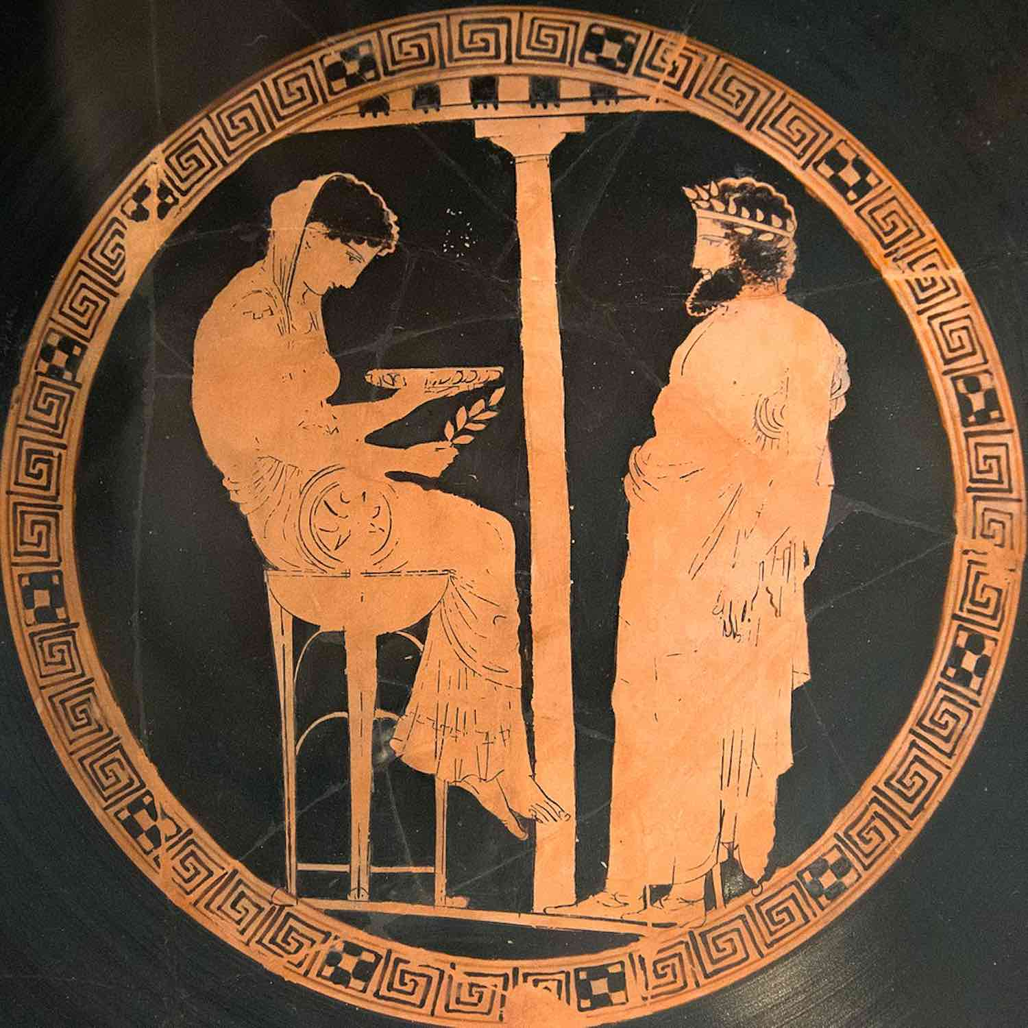 Oracle of Delphi, red figure kylix, 440-430 BCE
