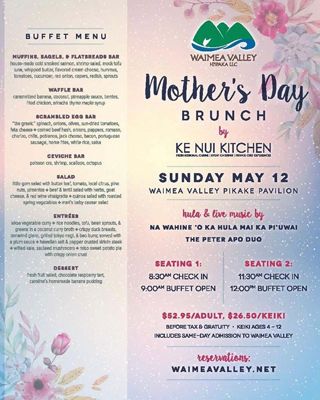 Mother's Day is Sunday May 12!!!!! Bring your special mom and celebrate with an amazing brunch, cocktails, live music, and hula dancing, all in our beautiful Waimea valley.  After brunch take a stroll to the waterfall and enjoy Mother Nature!!! ❤️🌺🌸 #mothersday #mothersdaygifts #brunch #waimeavalley #waterfall #nawahineokahulamaikapuuwai #mothernature #sundays #sundaybrunch