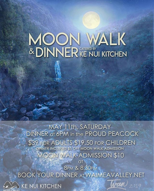 Join us on Saturday May 11, for a lovely evening of Italian food, and bar drinks by Ke Nui Kitchen along with a full  moonwalk to the waterfalls by @waimeavalleyoahu. Reminder Mother's Day is the next day this is a great pre gift for your special mom!!! 🌝🍷🍝 🤗 book online at www.waimeavalley.net #monthlydinner #fullmoon #fullmoonwalk #italian #italianfood #waimeavalley #proudpeacock #kenuikitchen