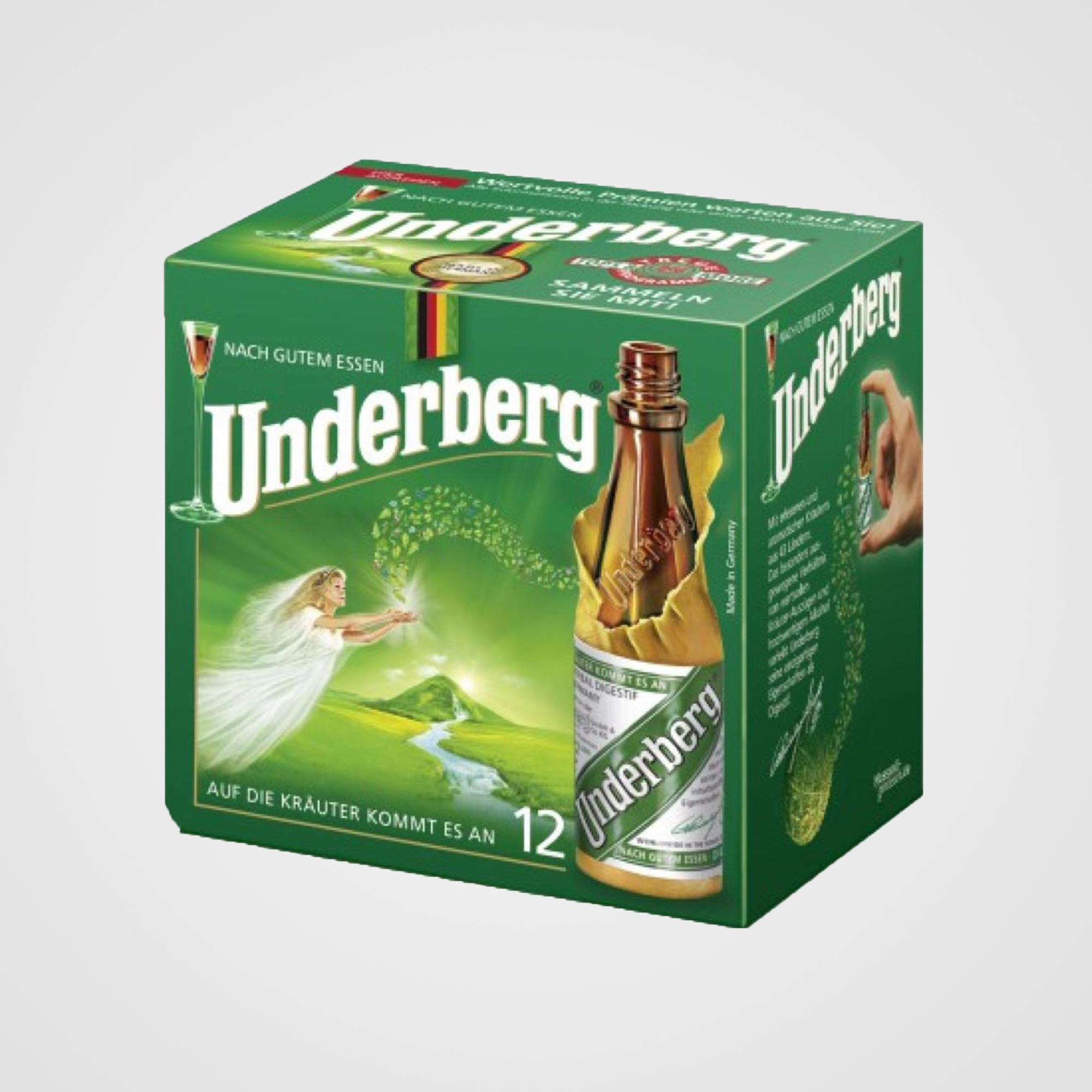 12 Bottle Pack - Underberg 12-Bottle Pack contains 12 portion size bottles of Underberg.Each Bottle is 20 ml. / 67 fl oz.Net Weight: 240 ml. / 8.04 fl oz.Country of Origin: Germany