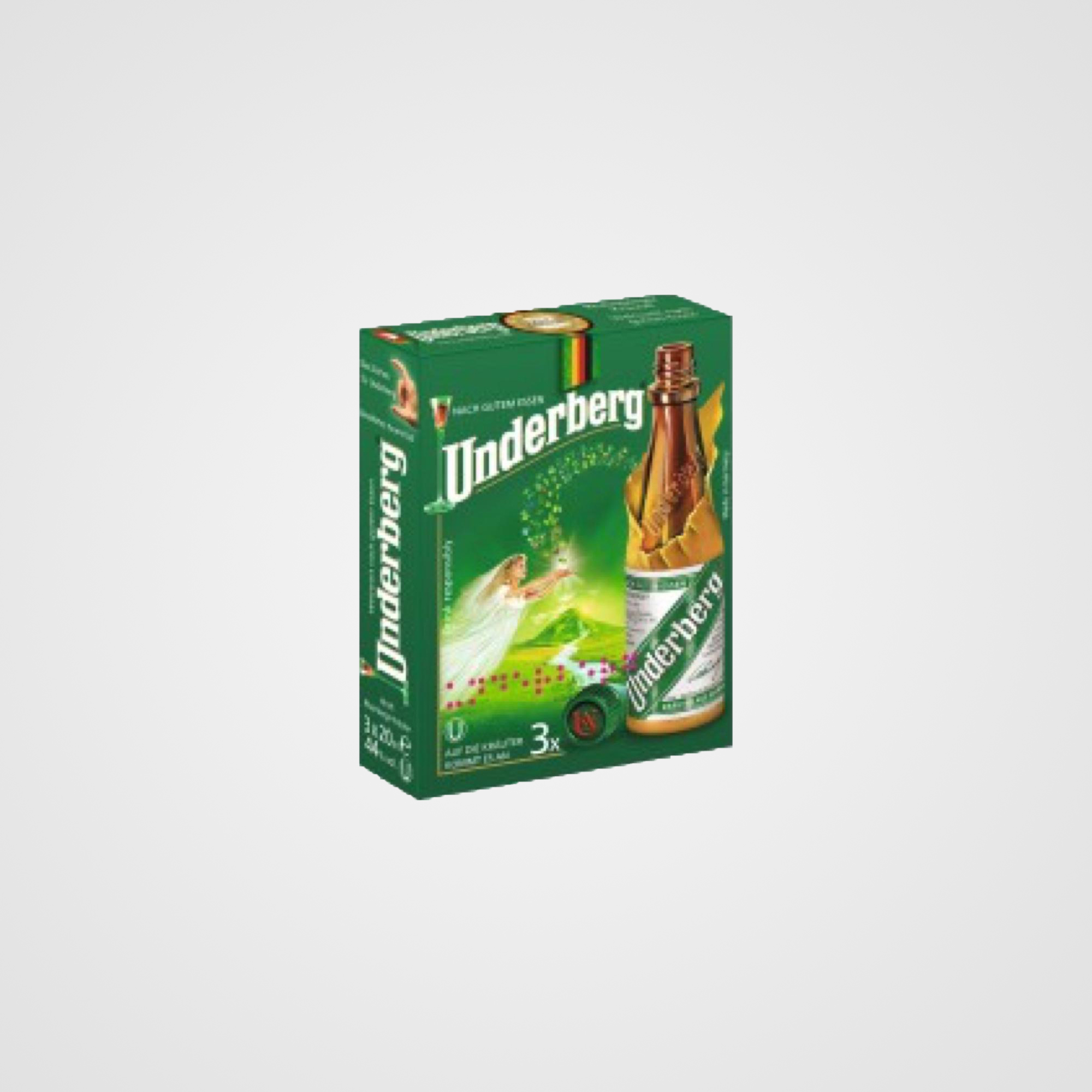 3 Bottle Pack - Underberg 3-Bottle Pack contains 3 portion size bottles of Underberg.Each Bottle is 20 ml. / 67 fl oz.Net Weight: 60 ml. / 2.01 fl oz.Country of Origin: Germany