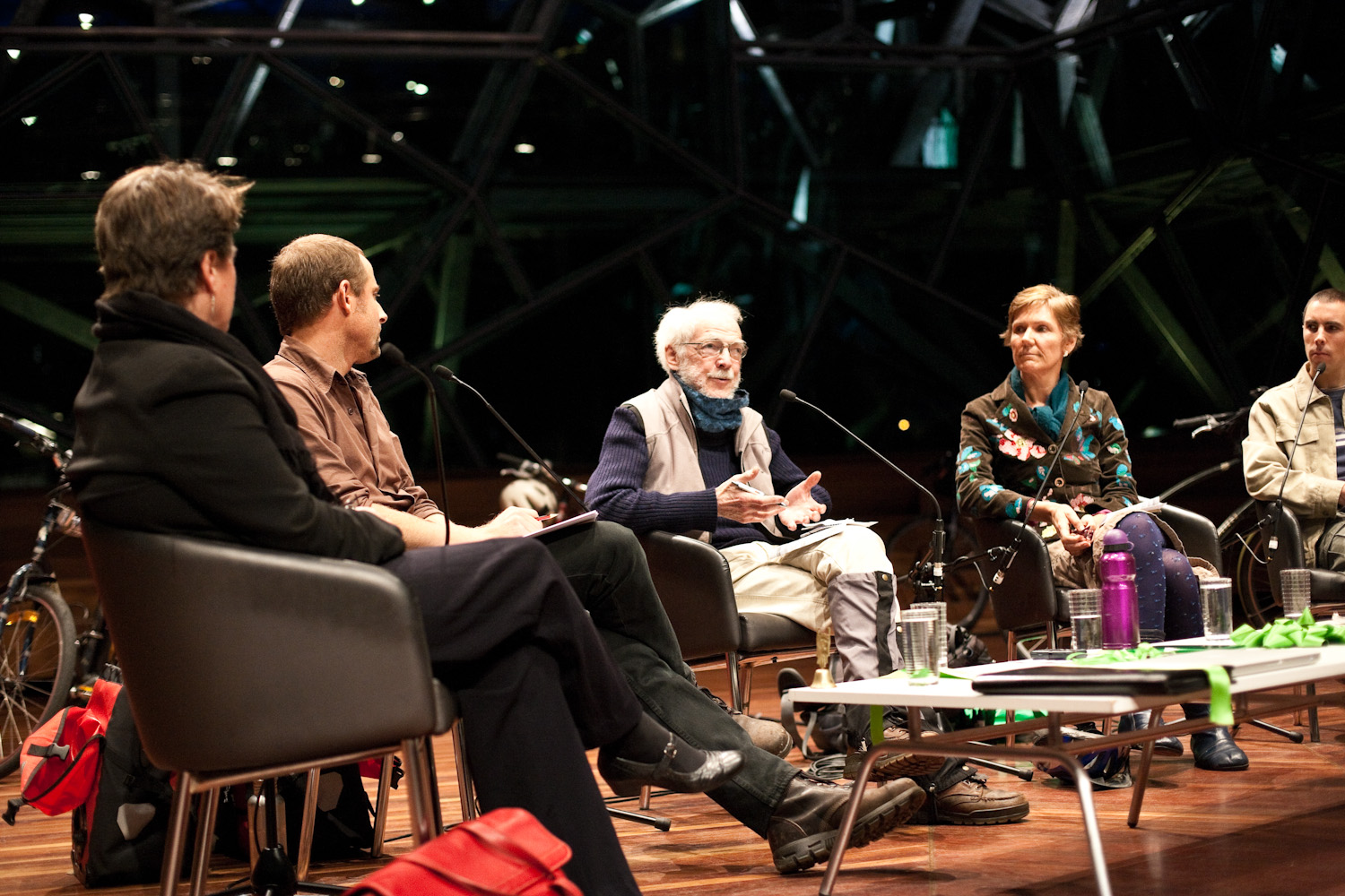 Live with a full house at Federation Square, Melbourne, with the ACT's Sustainability Commissioner, Kate Auty, Anthony, Frank, editor Fran MacDonald & James Tonson. Pic:  Rodney Dekker