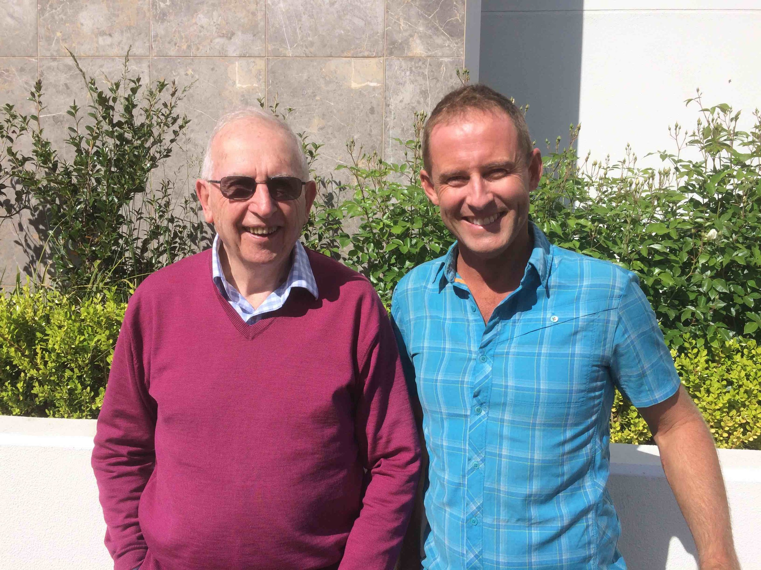 Hugh Mackay and Anthony James at Hugh's home in Canberra. Pic: Olivia Cheng.