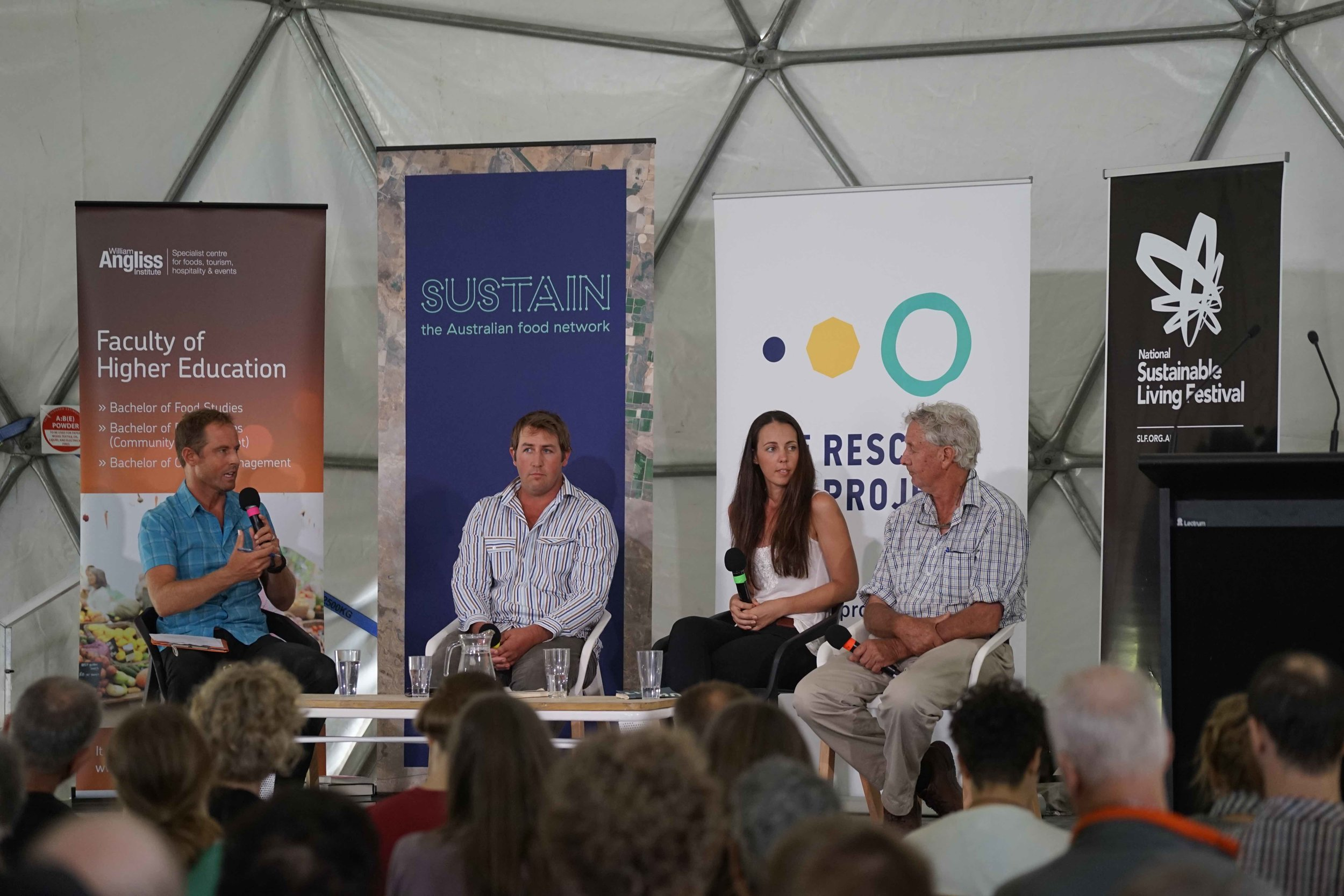Anthony James, David Pollock, Frances Jones & Charles Massey in conversation at the National Sustainable Living Festival (SLF). Pic: SLF.