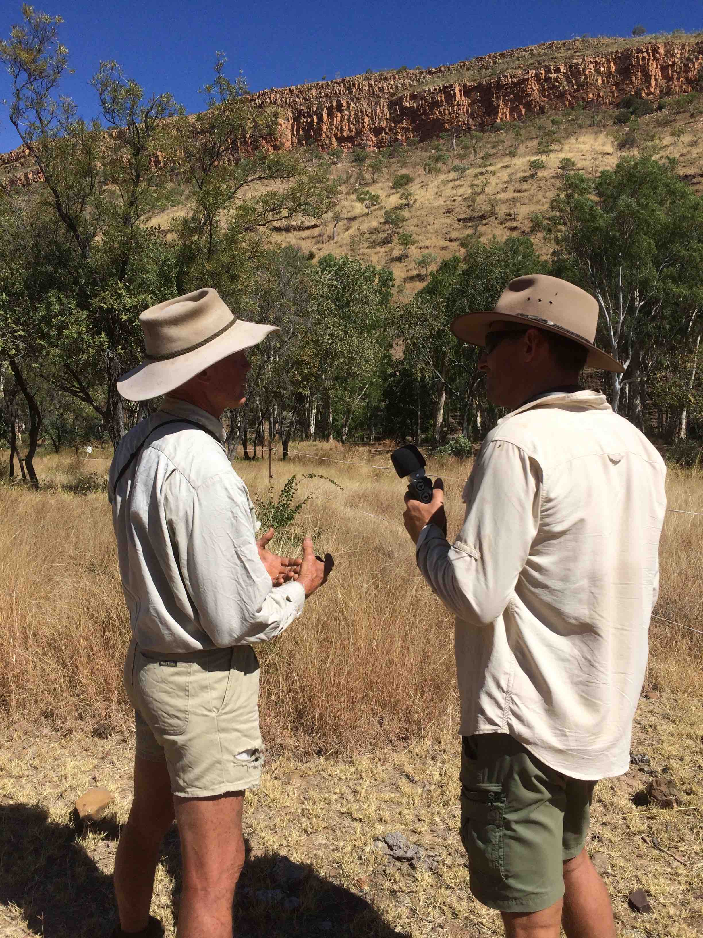 Chris Henggler speaking with Anthony at Kachana Station. Pic: Olivia Cheng.