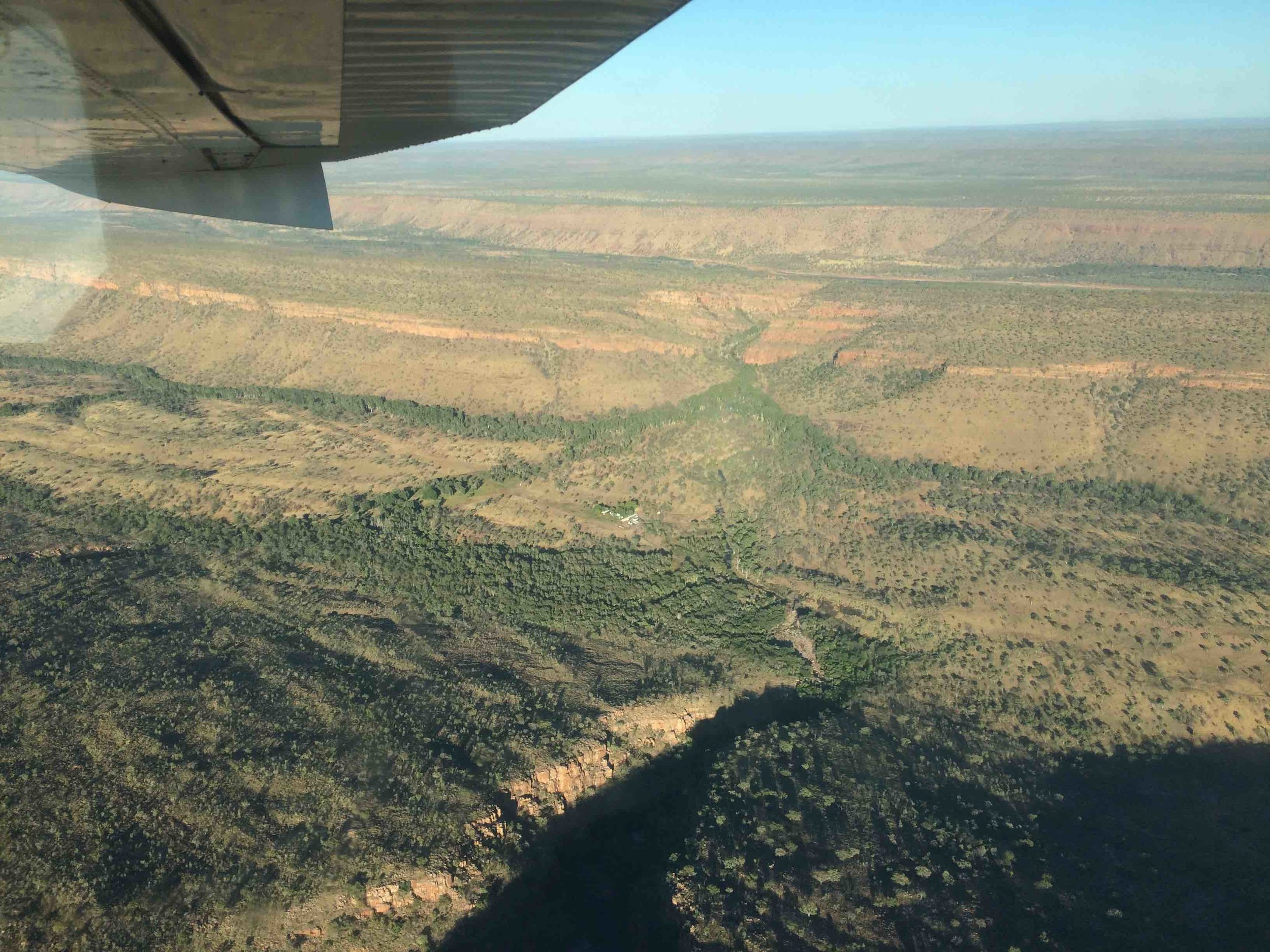 A view of Kachana homestead from the Henggler's light plane, the only way in to the Station aside from on foot. Pic: Anthony James.