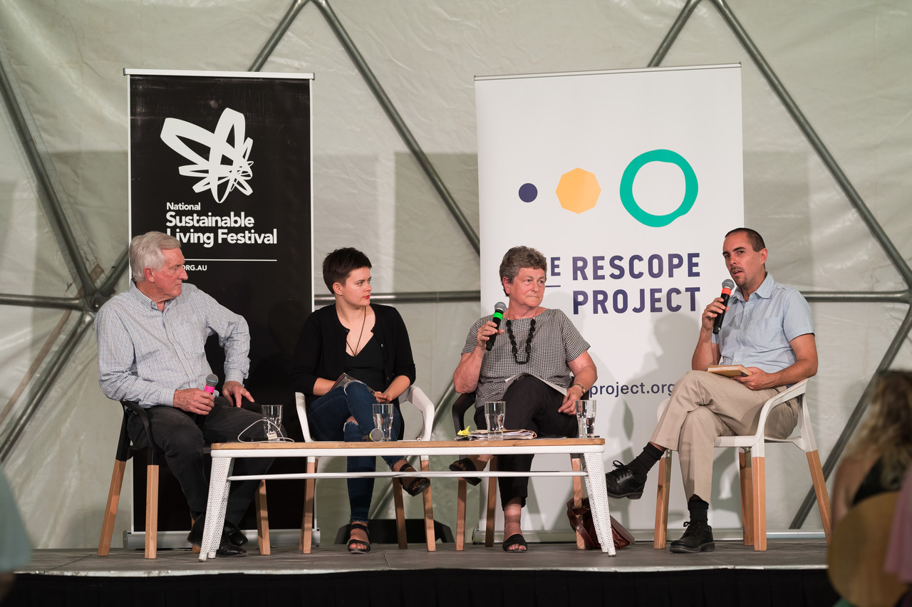 Dr John Hewson, Chloe Aldenhoven, Mary Crooks and James Tonson. Pic: National Sustainable Living Festival.