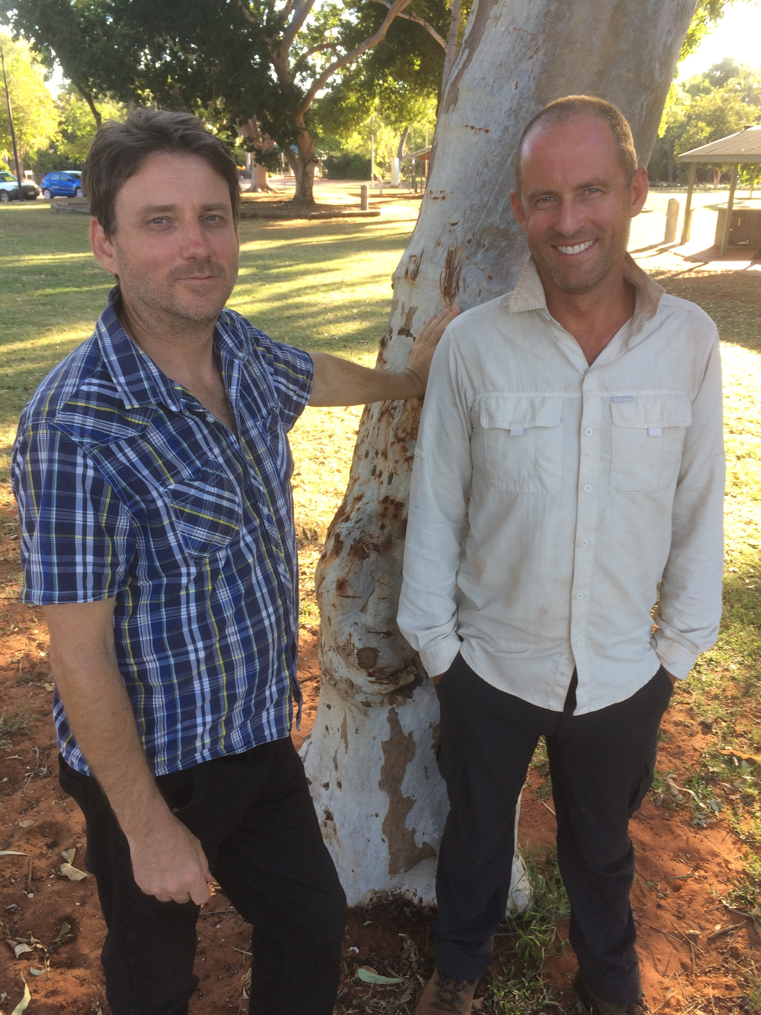 Martin Pritchard & Anthony James at Town Beach in Broome. Pic: Olivia Cheng.