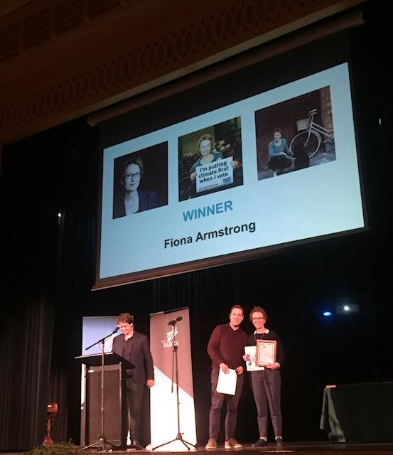 Fiona Armstrong is awarded the 2018 Frank Fisher Award. Pic: City of Yarra.