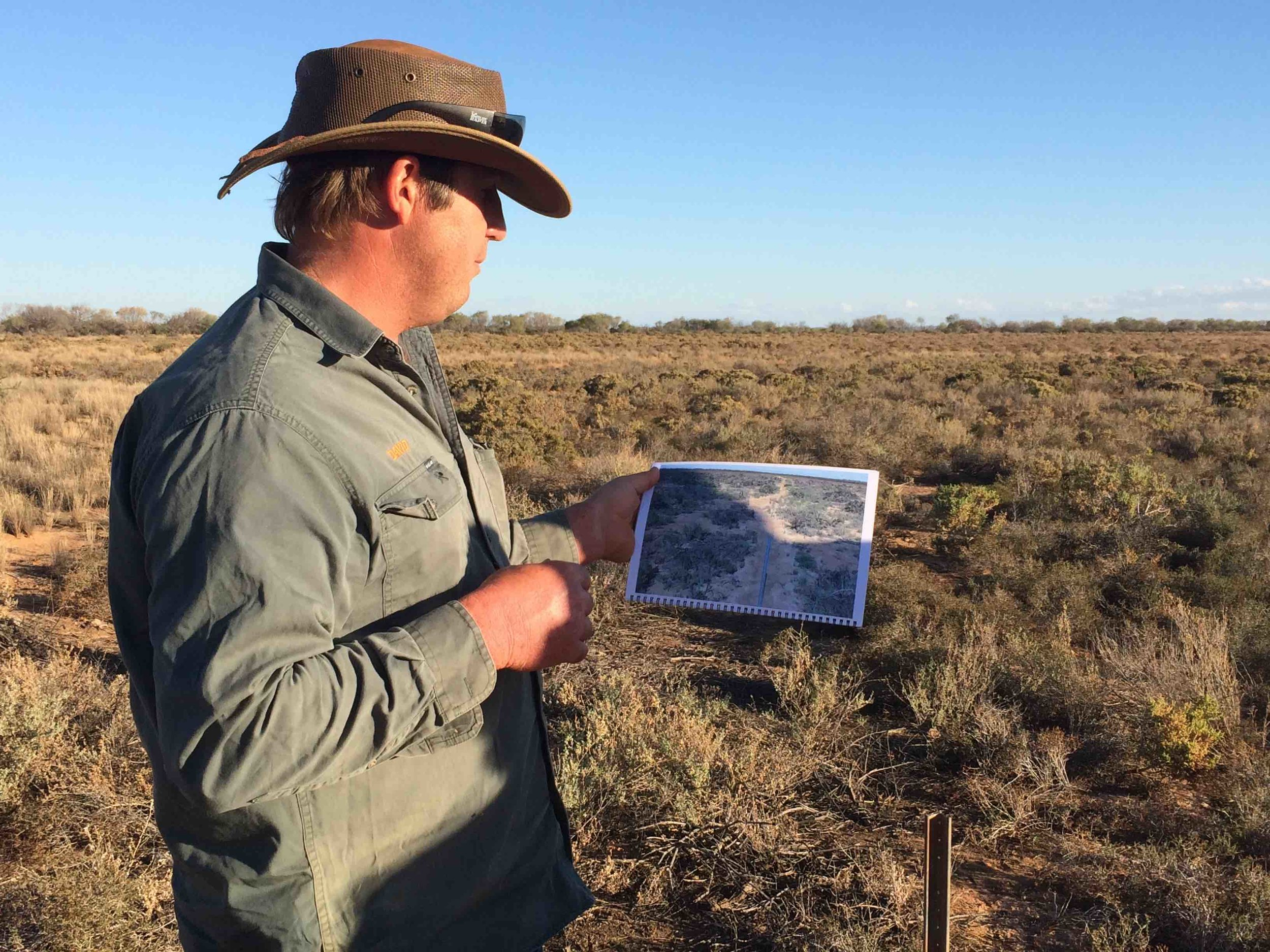 David Pollock at one his many monitoring sites at Wooleen Station. Pic: Anthony James.