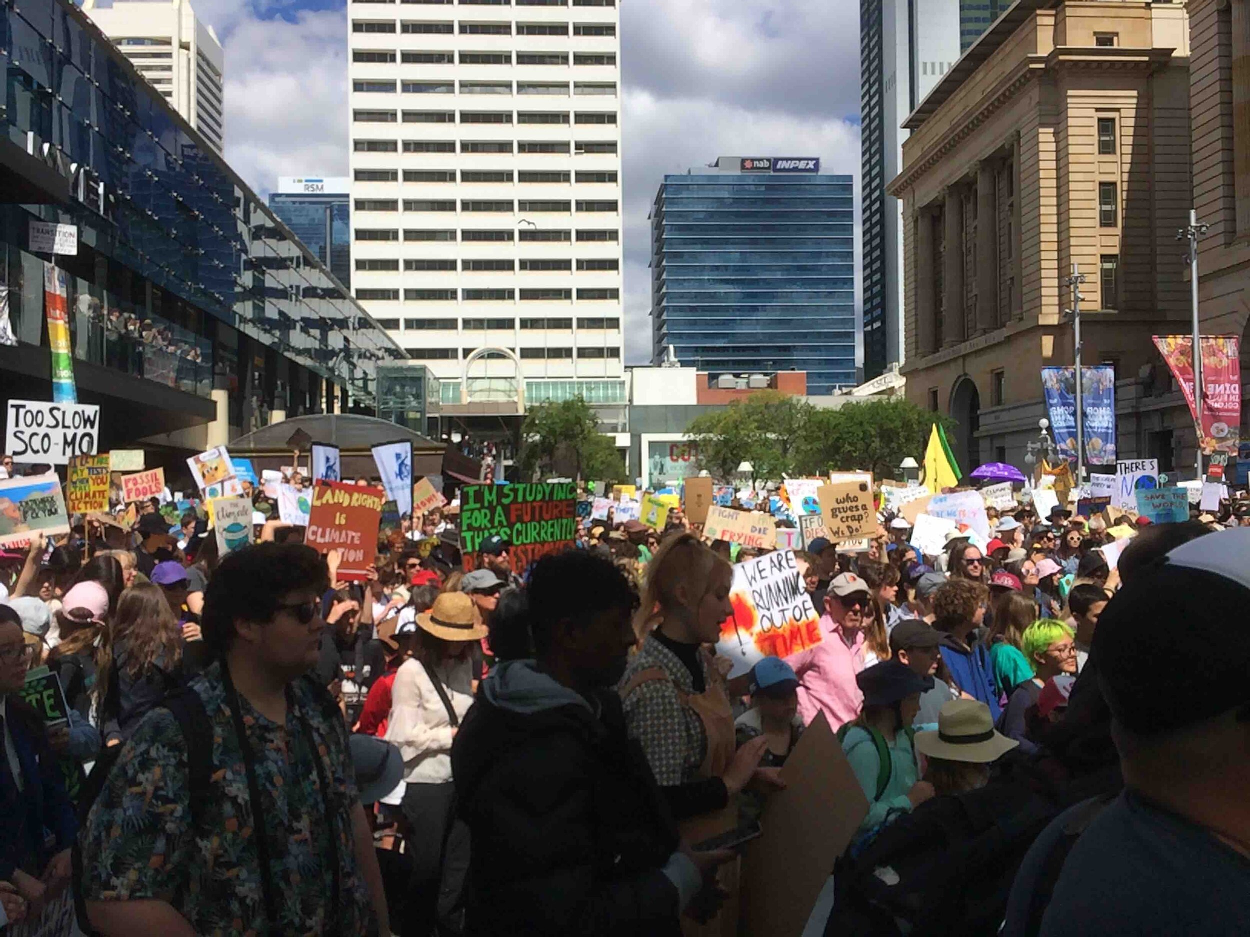 The Perth climate strike in Australia. Pic: Anthony James.