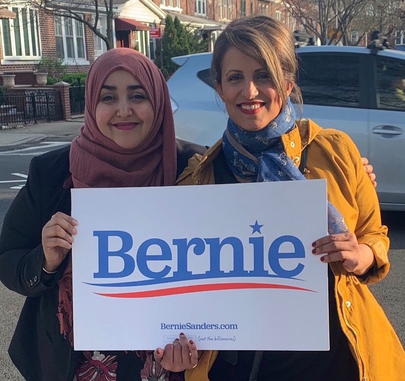 Co-founders Rabyaah and Somia organizing for Bernie Sanders