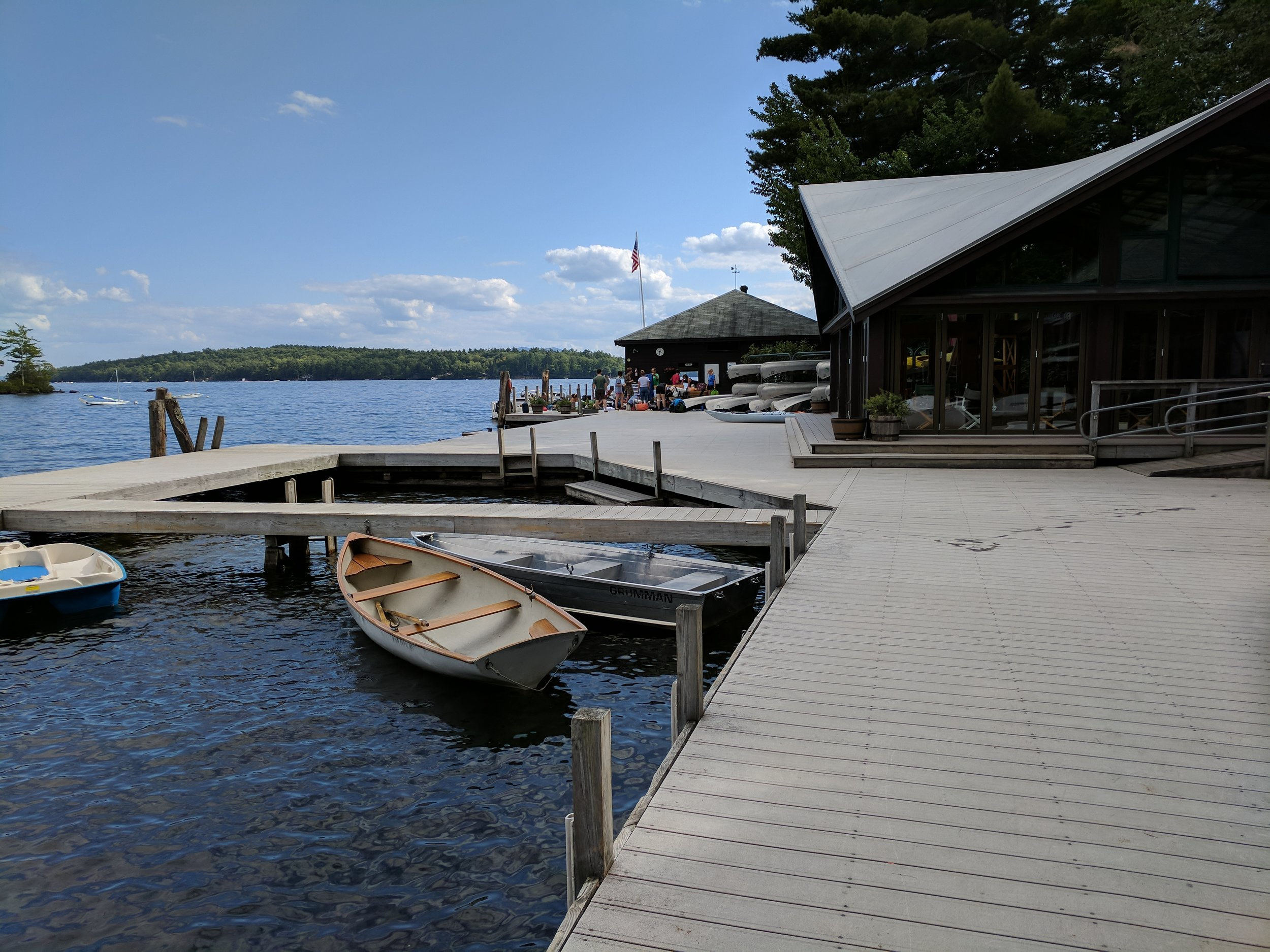 The Main Dock - A large recreation hall faces the main dock. Many campers congregate there for swimming, reading, ping-pong, board games, and talking with old and new friends. Campers can rent canoes, kayaks, stand-up paddle boards, and sailboats for a nominal weekly fee.