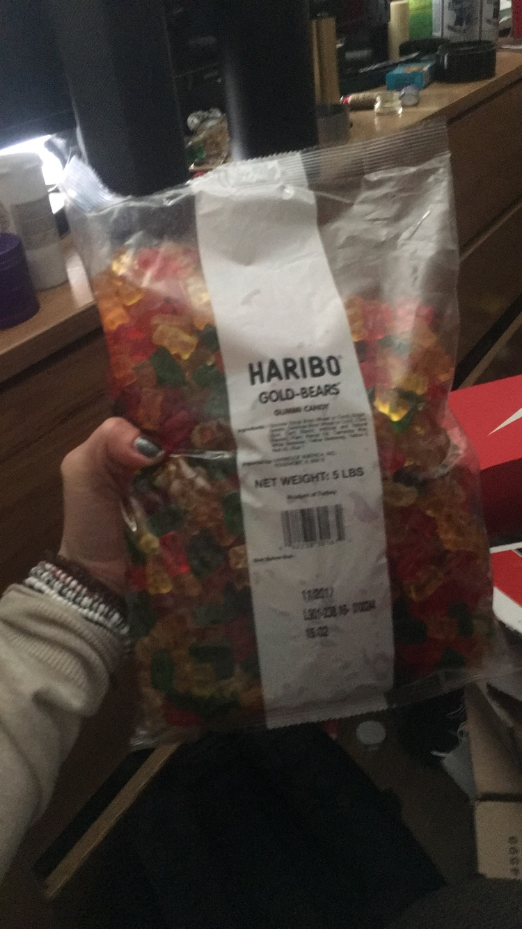 Your 5 lbs of gummy bears.