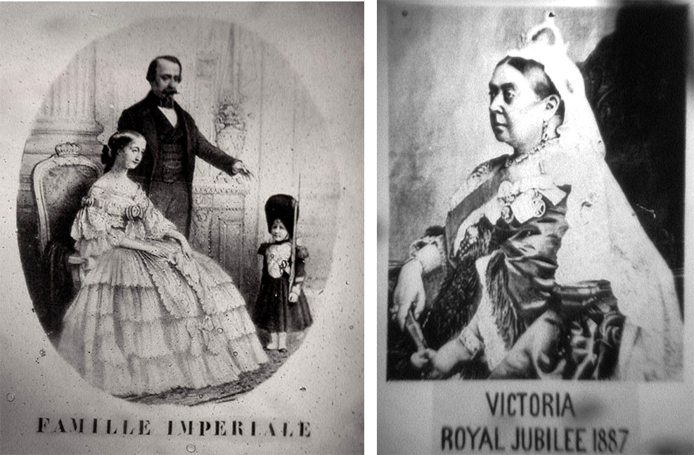 Left: A microphotograph of the French Royal Family. Right: An image of Queen Victoria celebrating the 50th anniversary of her accession to the throne.