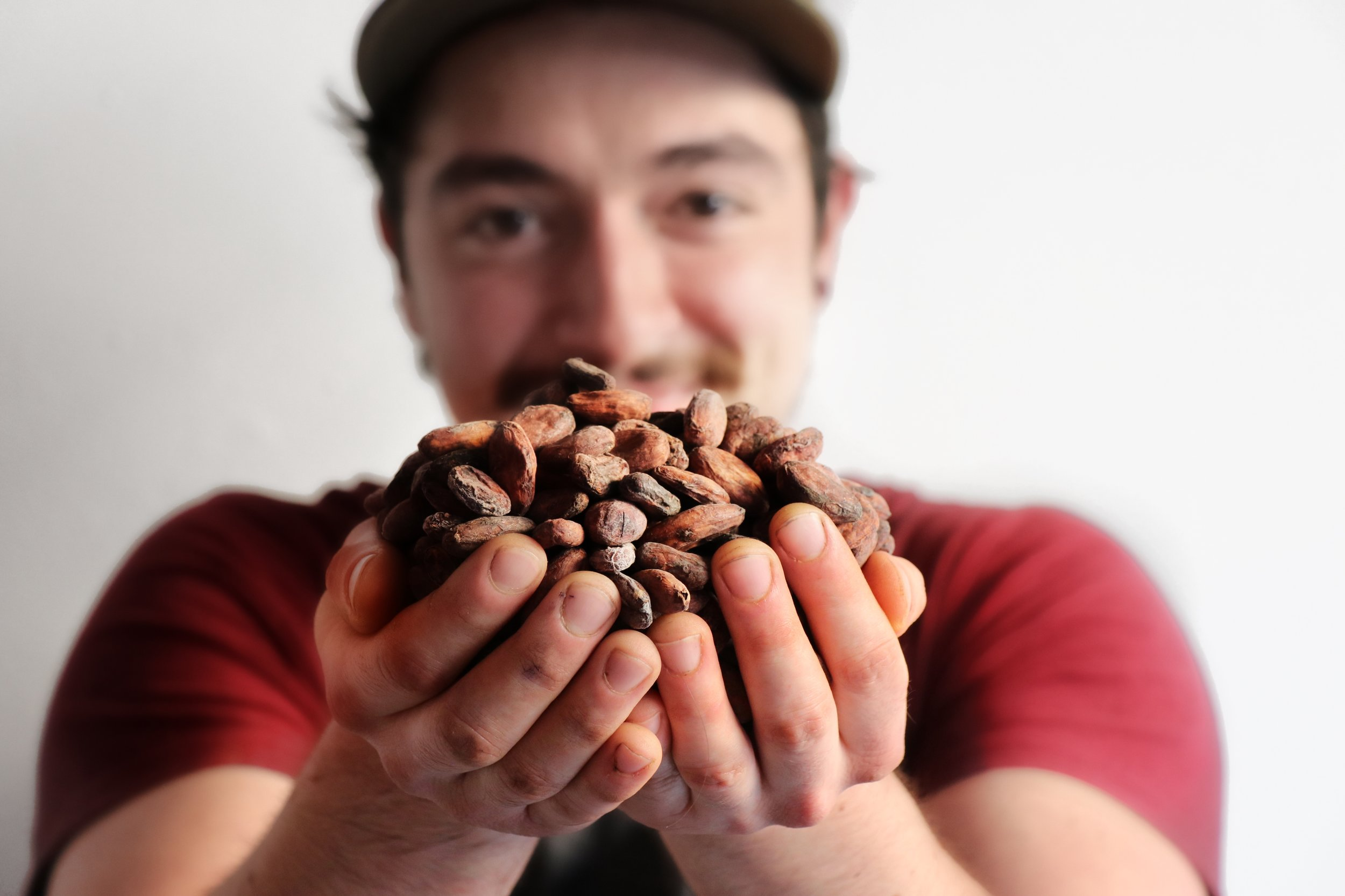 George - The Bean Roaster with beans from PNG.JPG