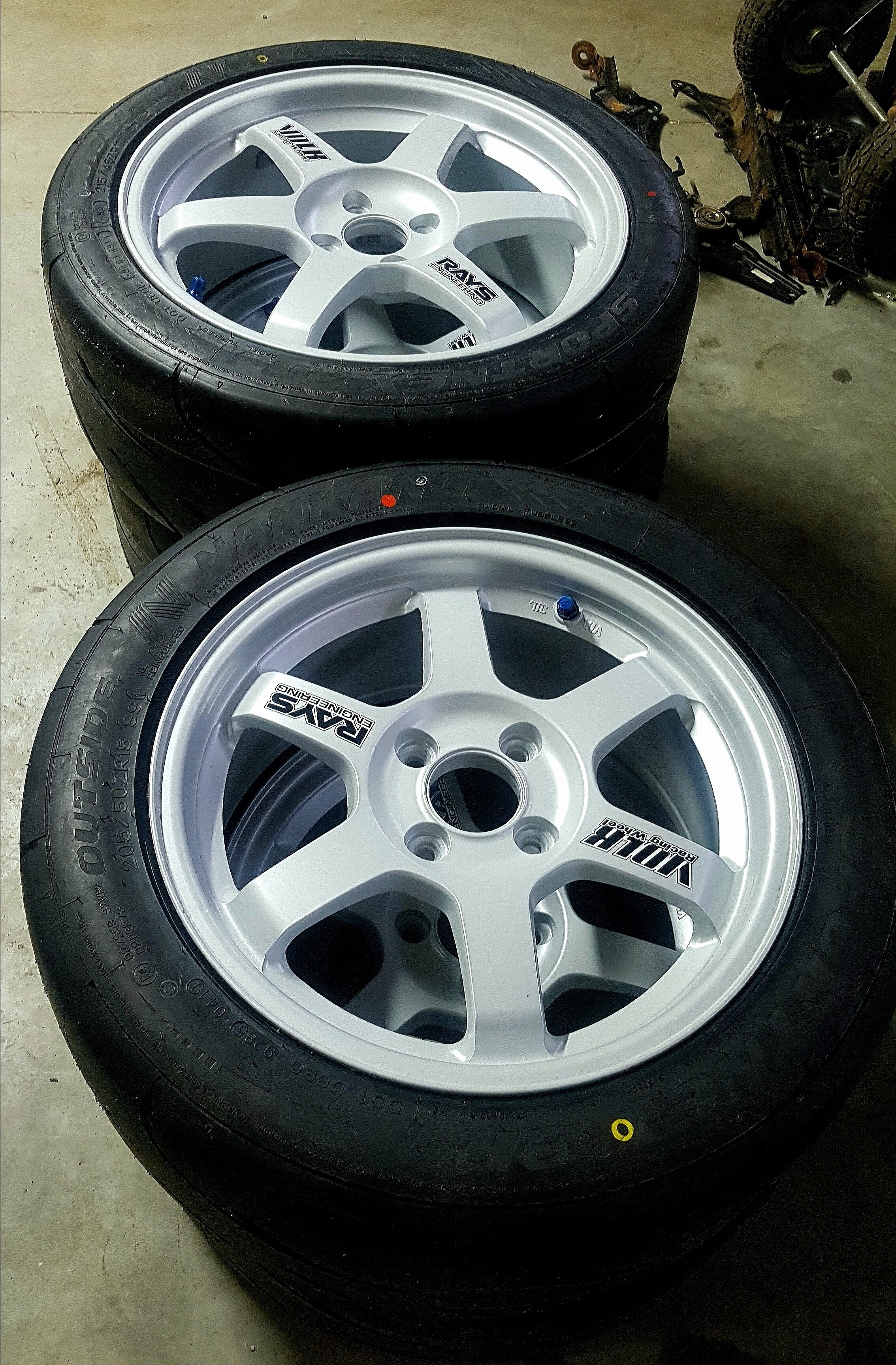"""Well here is my new set of wheels! Freshly coated TE37 in 15""""/17"""" stagger. Thanks to my buddy Rob at the wheel clinic for taking care of these for me on such short notice. Pretty happy with the color we chose (white silver) as I really dig the silver on silver."""