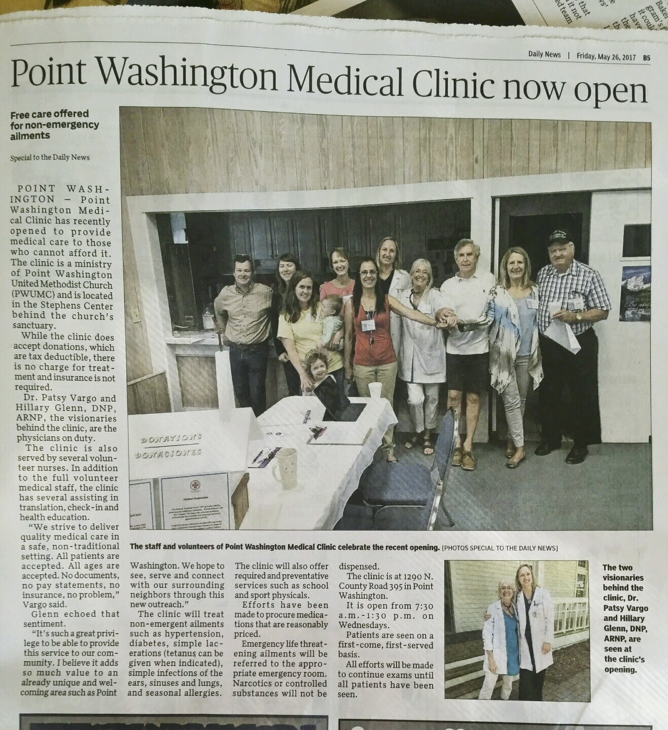 John was a part of the Point Washington Medical Clinic from the very beginning.