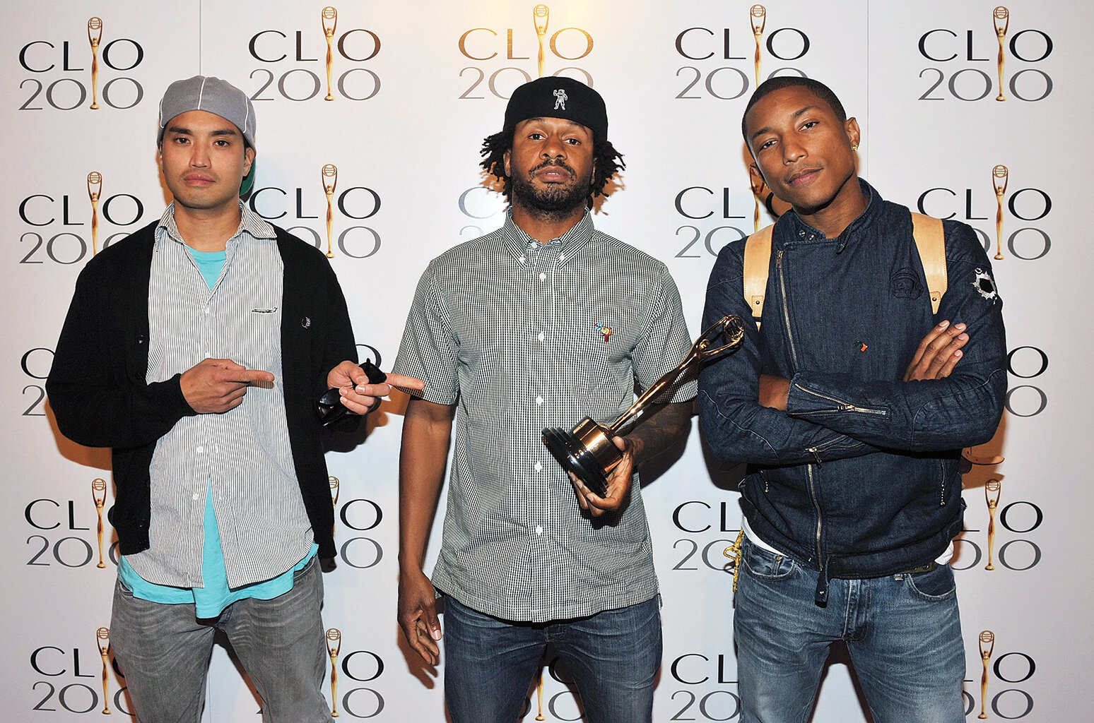 N*E*R*D's Chad Hugo, Shay Haley and Pharrell Williams (from left) at the 2010 Clios.