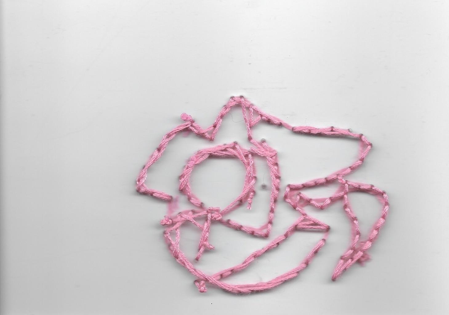 Pink flower, 14x19cm, cotton thread onto perspex, 2019