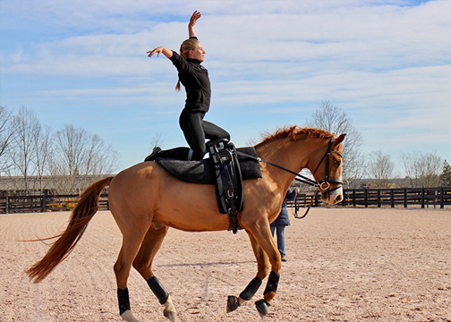 FEI Vaulter, Dusti Hausman practicing on Chimera, SWB  [Photo by Andrea Selch]