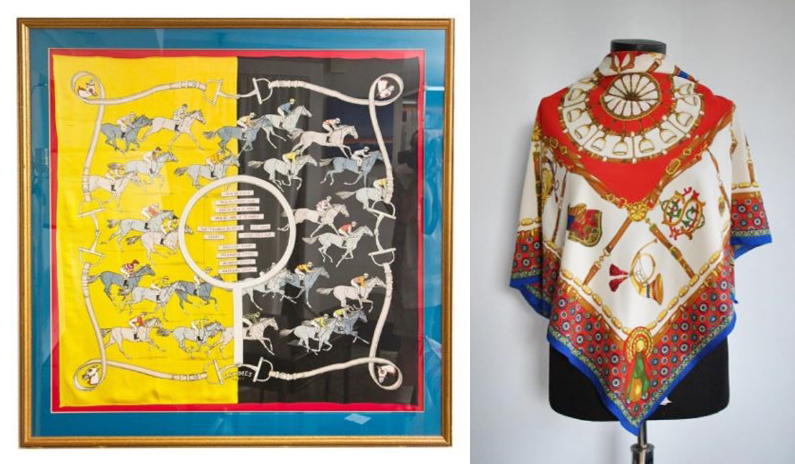 [Left] Hermes Scarf | [Right] Vintage Silk Scarf