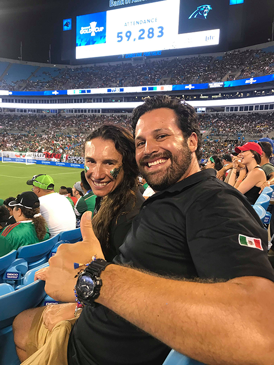 Danny and Zully at the Gold Cup, cheering on Mexico!