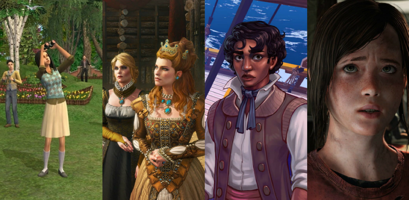 Differing depictions of realism. Left to right – The Sims 2, The Witcher 3: Wild Hunt, Herald, The Last Of Us