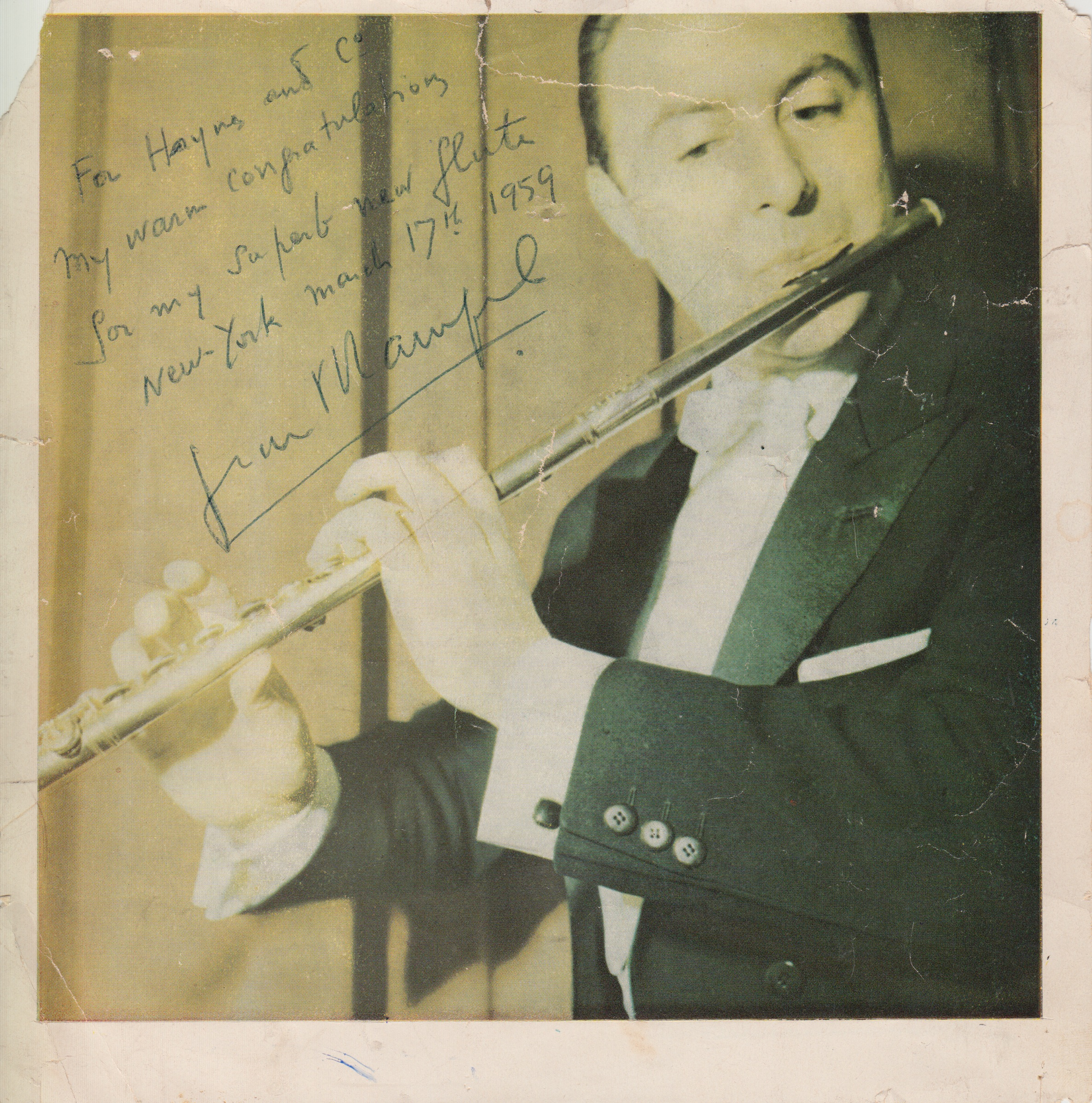 """1958 – Jean-Pierre Rampal gives his debut concert in the United States at the Library of Congress in Washington DC.1959 – Haynes creates flute #29333 for Mr. Rampal. - Rampal gave the USA premiere of the Sonata for Flute and Piano by Francis Poulenc at this concert. Lola Haynes and Phillip Kaplan played a major role in bringing Rampal to the United States for this performance. During his stay, Rampal made his way to Boston and visited the Haynes workshop. He had his older flute with him and asked if the Haynes Company could make a copy with sturdier keywork and a more comfortable scale. The artisans at the company were thrilled to make an instrument to his specifications and began making the great maestro's first Haynes flute.Rampal's flute was a French model, open hole, thin wall (0.09"""" wall), 14k yellow gold flute with C footjoint."""
