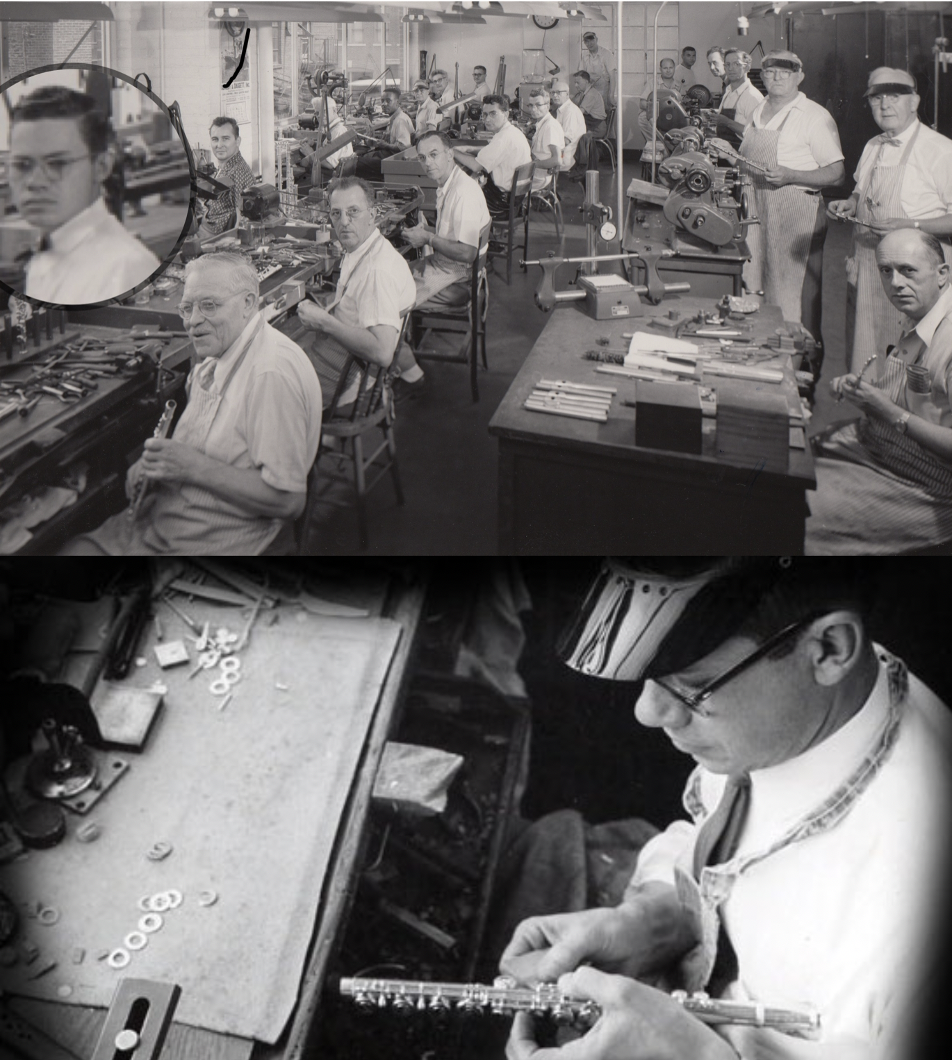 """1940 - During the war years, it is very difficult to obtain precious metals. In order to continue making instruments, the Wm. S. Haynes Company obtains government contracts. The Wm. Haynes Company still makes flutes for military bands and orchestras around the world.1941 – Lewis """"Lew"""" Deveau (circled in photo) joins the company and eventually becomes President and owner. -"""