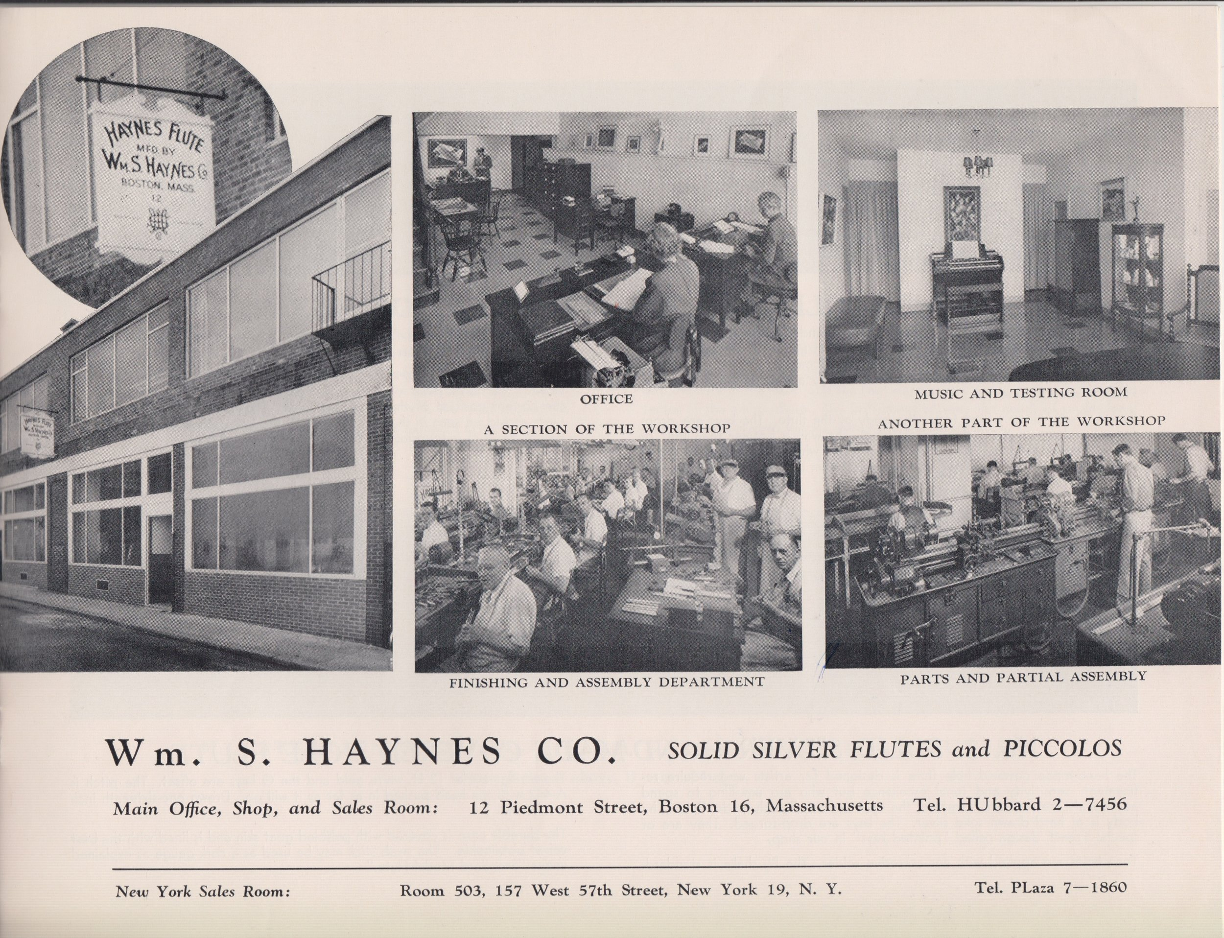 1960s - In the 1960s the Wm. S. Haynes Company averaged approximately 1,000 instruments per year. They made three styles of C flutes, the commercial model with drawn toneholes – with open or closed keys and