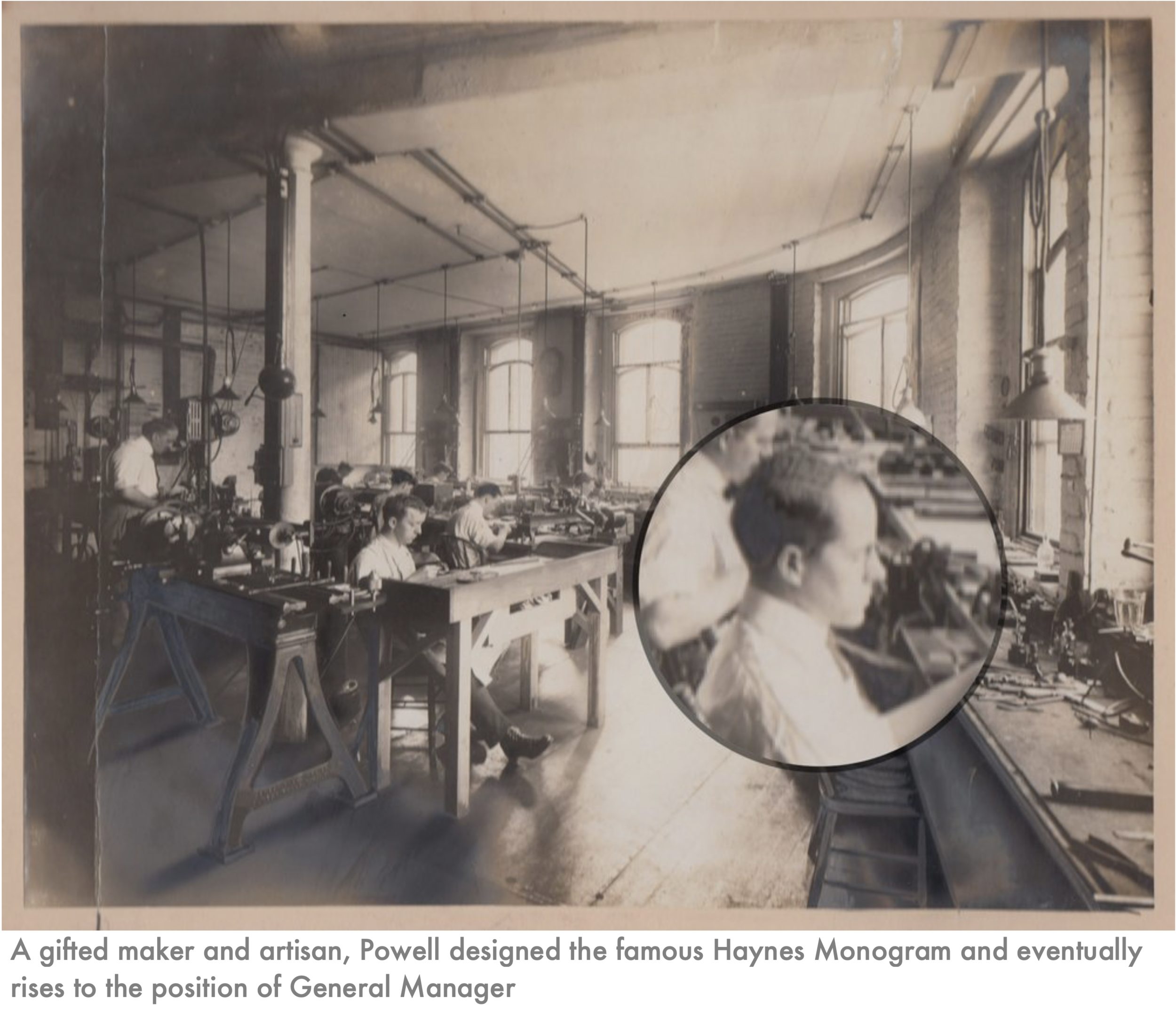 1912 – Haynes Showroom opens at 61 Hanover Street, Boston1913 – Verne Q Powell (pictured) is employed at Wm. S. Haynes Co.1914 – Additional workshop added at Elm Street, Boston1914 – Haynes makes its first all-18K gold flute #2833. -