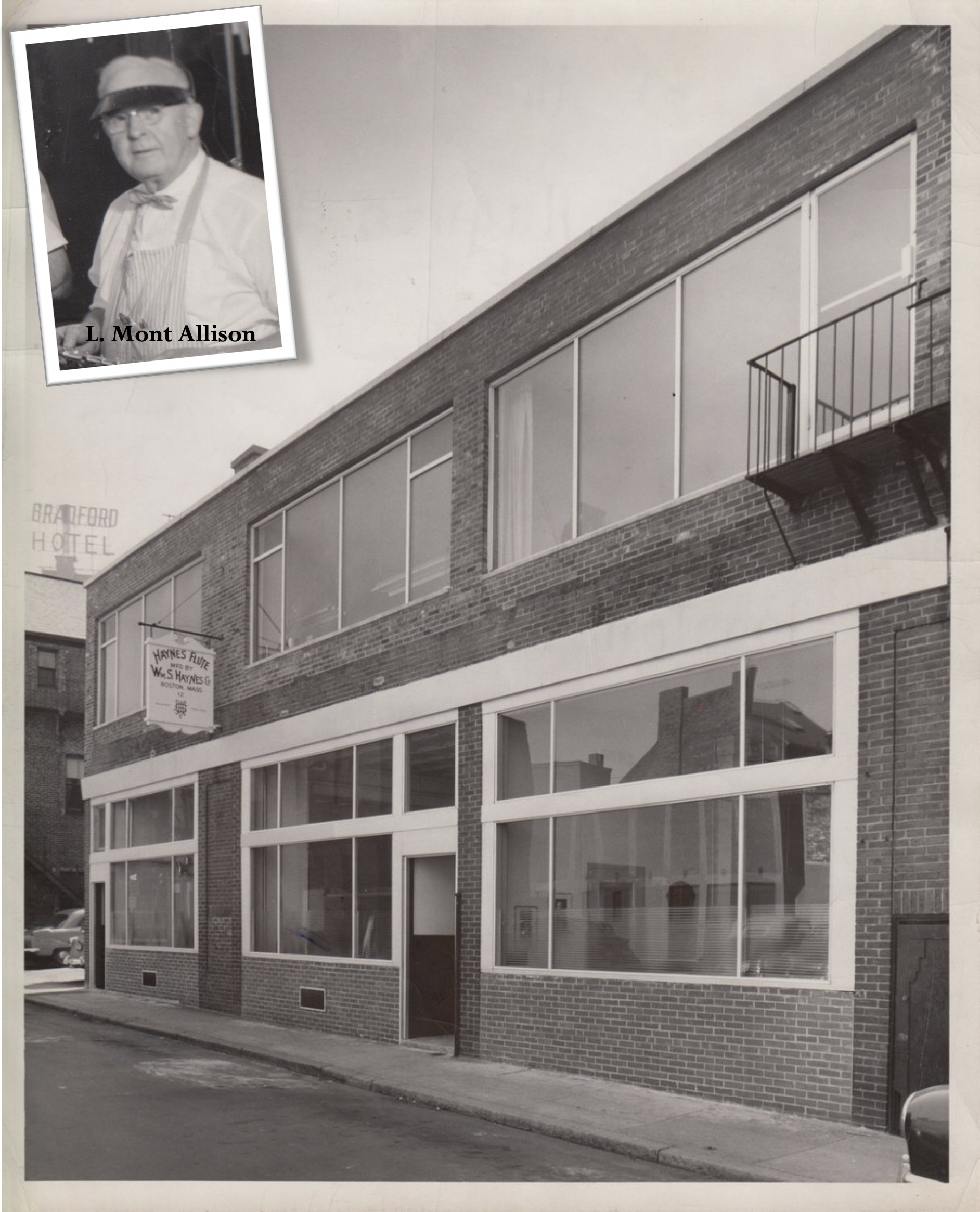 1947 – Haynes Workshop moves to 108 Massachusetts Avenue, Boston1949 – L. Mont Allison becomes Director and President of the Company. Lola Haynes maintains ownership.1953 – Workshop moves to 12 Piedmont Street, Boston (pictured) which would be the home of Haynes for the next 50 years.1957 – Phillip Kaplan – Second Flutist in the Boston Symphony Orchestra becomes a consultant to the company. -